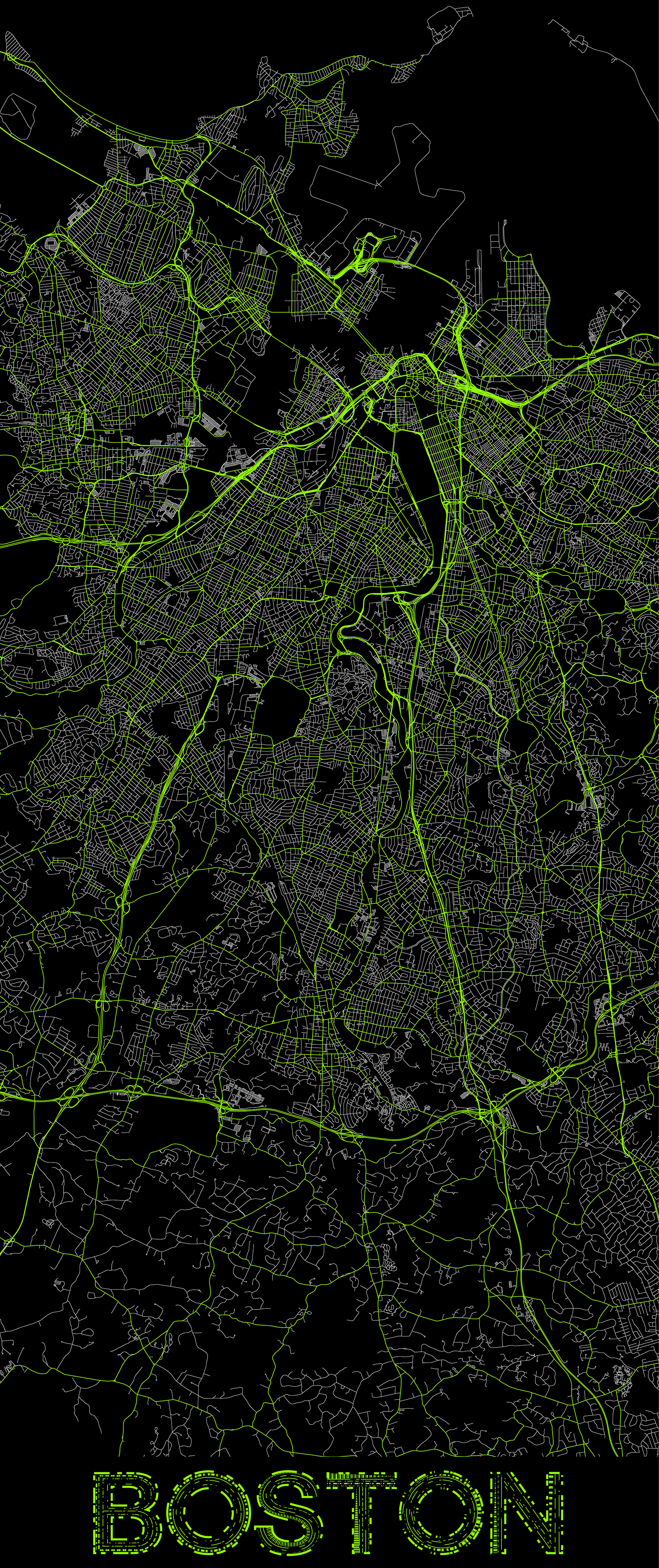 City map illustration of Boston created using Maperitive, OpenStreetMap and Adobe Illustrator.