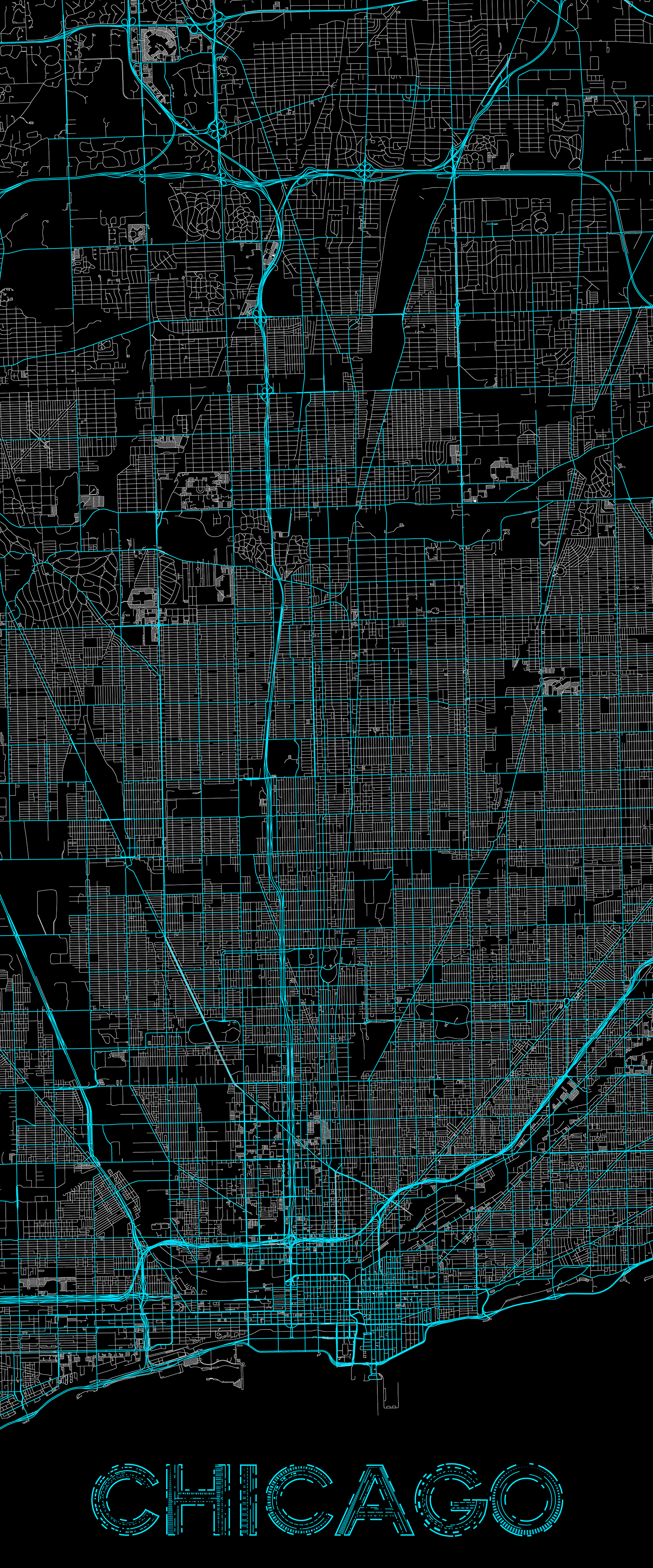 City map illustration of Chicago created using Maperitive, OpenStreetMap and Adobe Illustrator.
