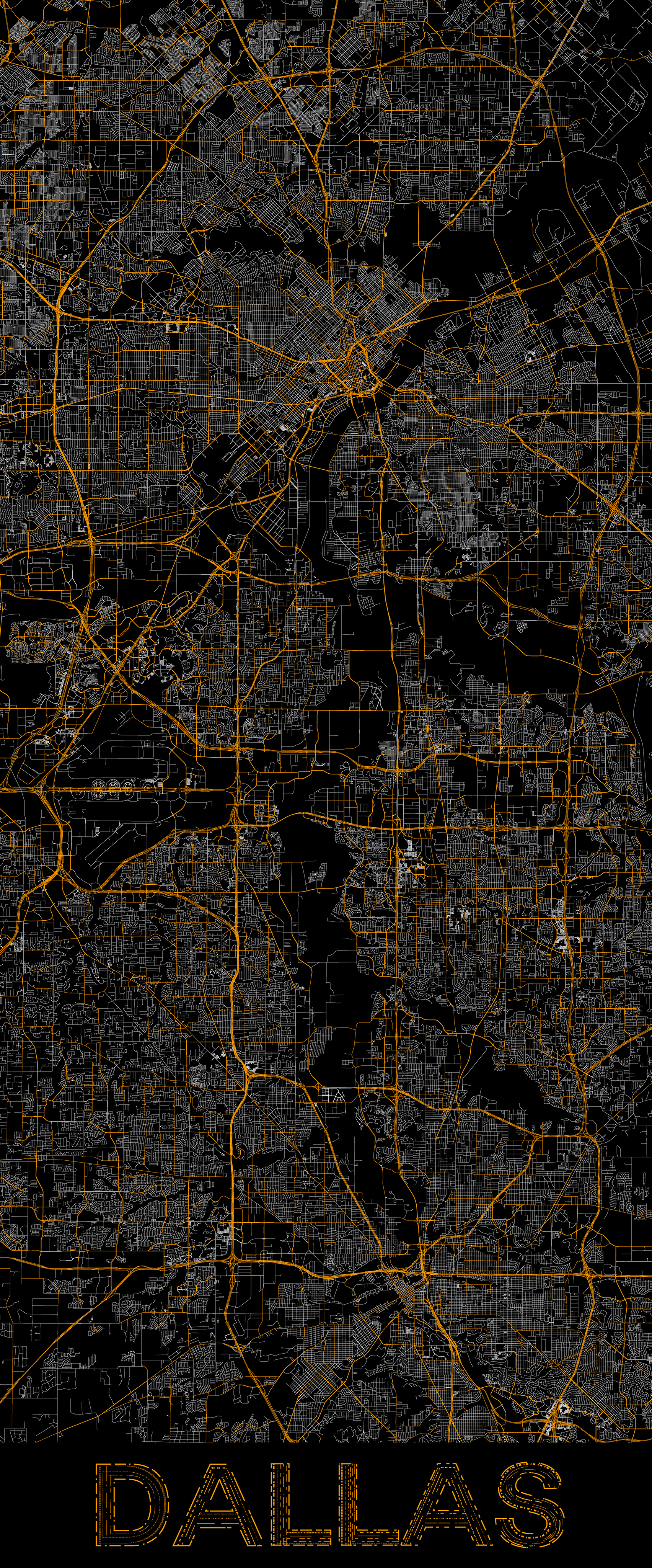 City map illustration of Dallas created using Maperitive, OpenStreetMap and Adobe Illustrator.