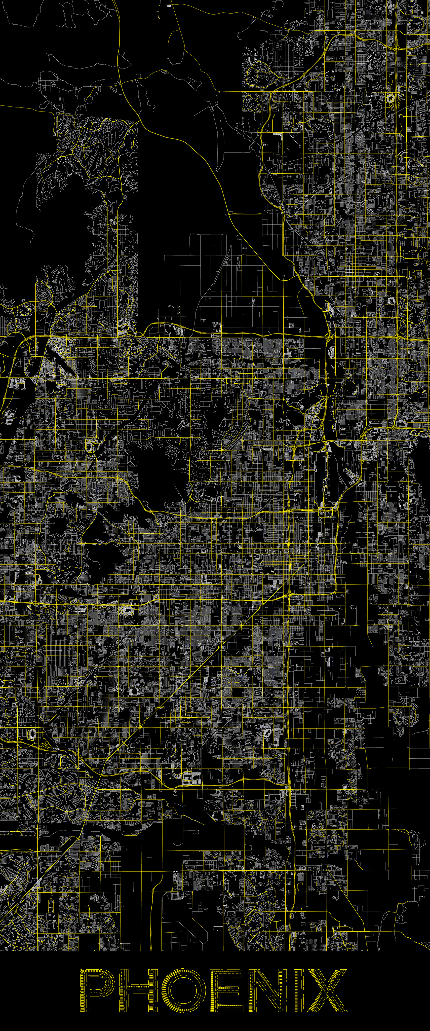 City map illustration of Phoenix created using Maperitive, OpenStreetMap and Adobe Illustrator.