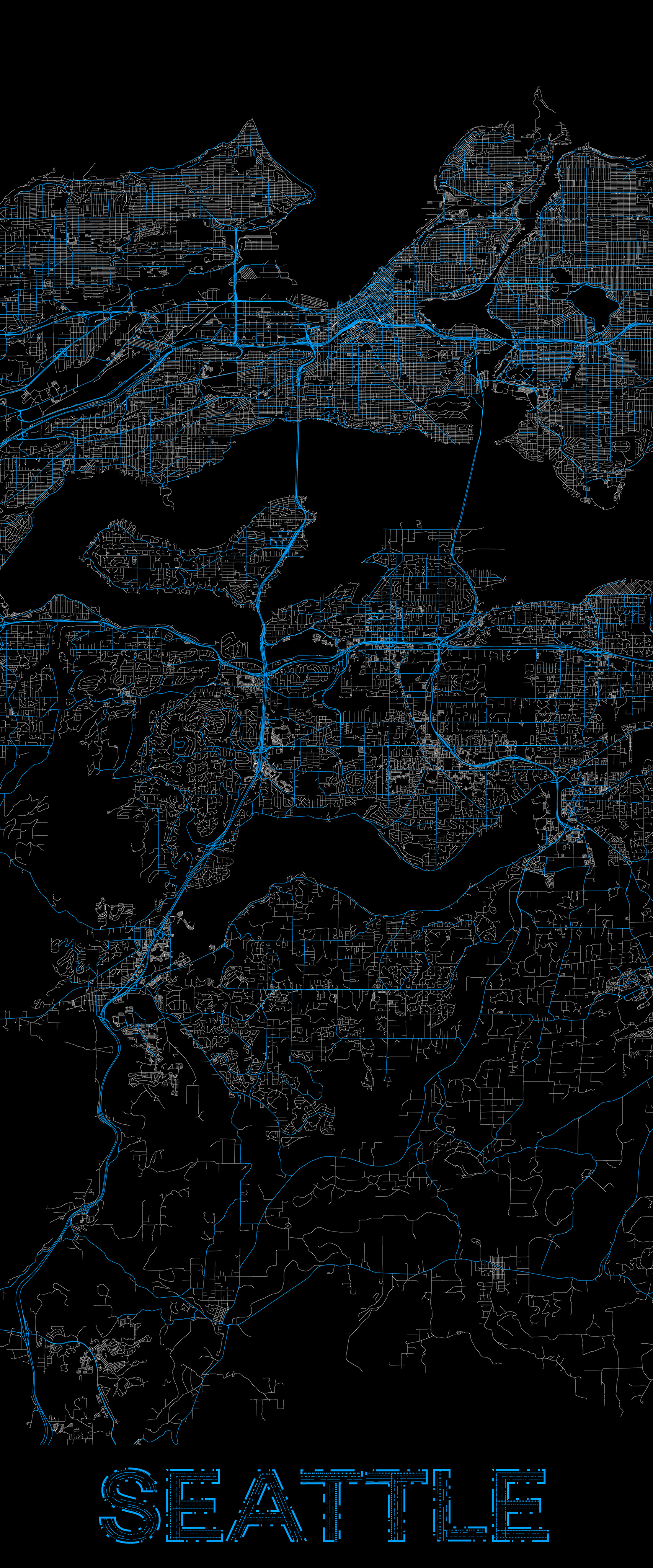 City map illustration of Seattle created using Maperitive, OpenStreetMap and Adobe Illustrator.