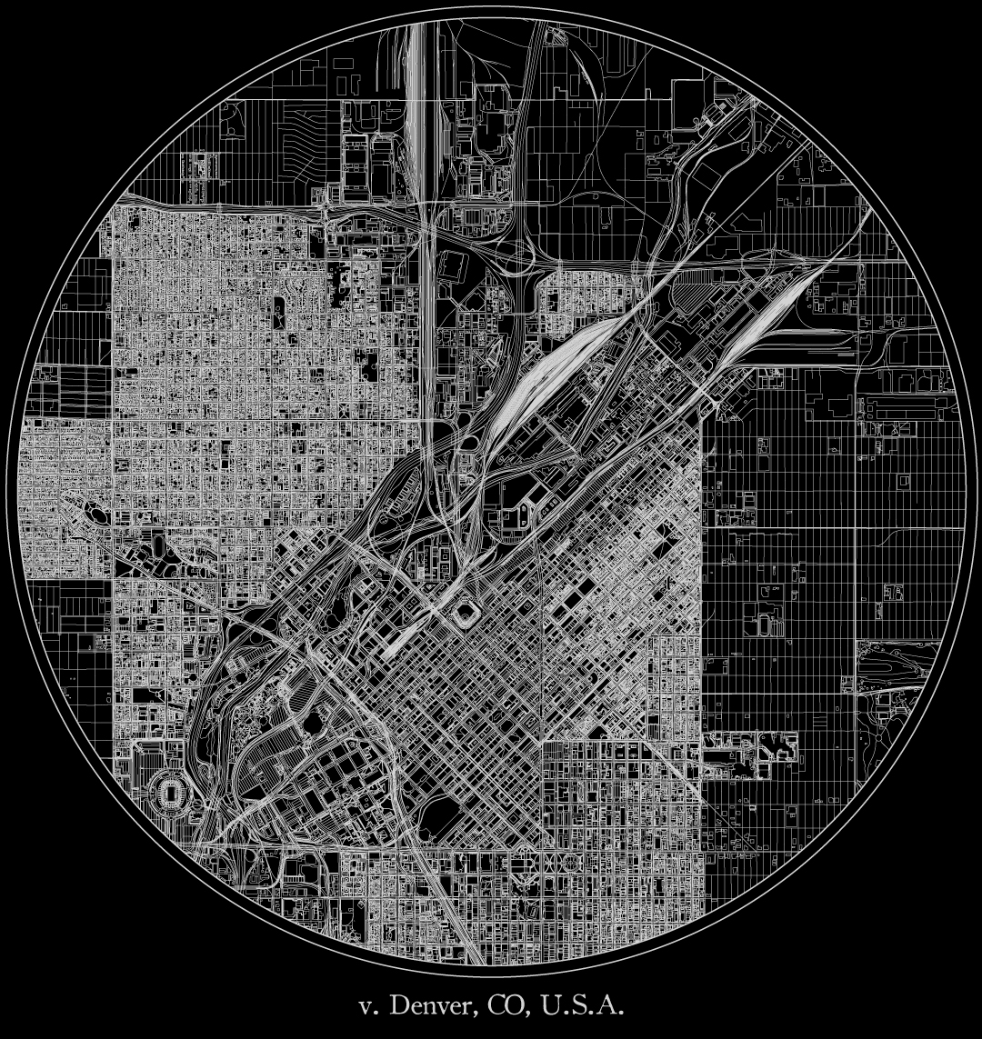 City map illustration of Denver created using Maperitive, OpenStreetMap and Adobe Illustrator.
