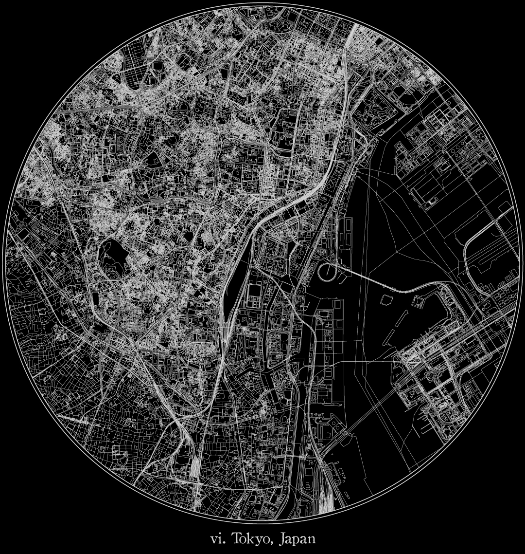 City map illustration of Tokyo created using Maperitive, OpenStreetMap and Adobe Illustrator.