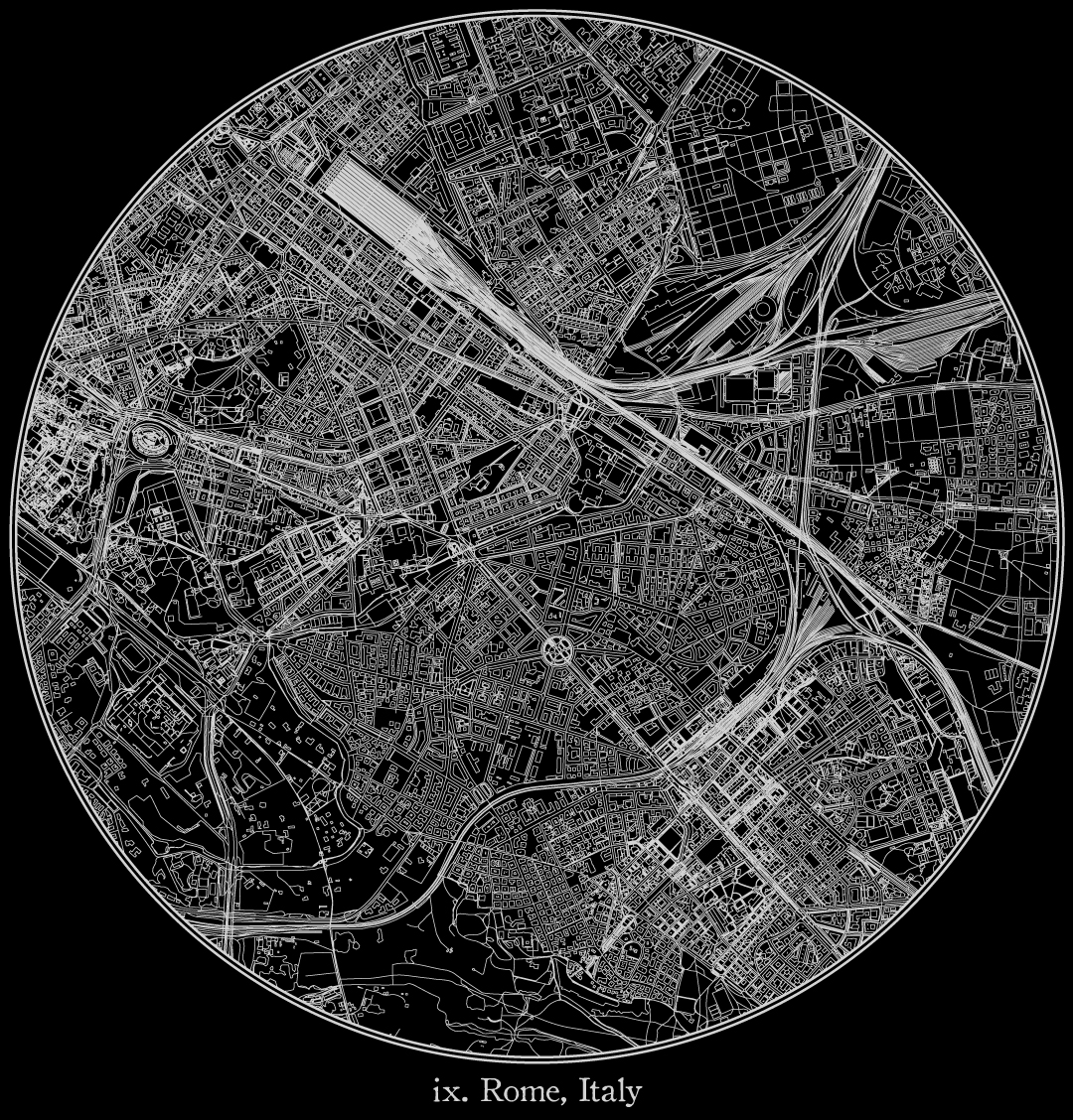 City map illustration of Rome created using Maperitive, OpenStreetMap and Adobe Illustrator.
