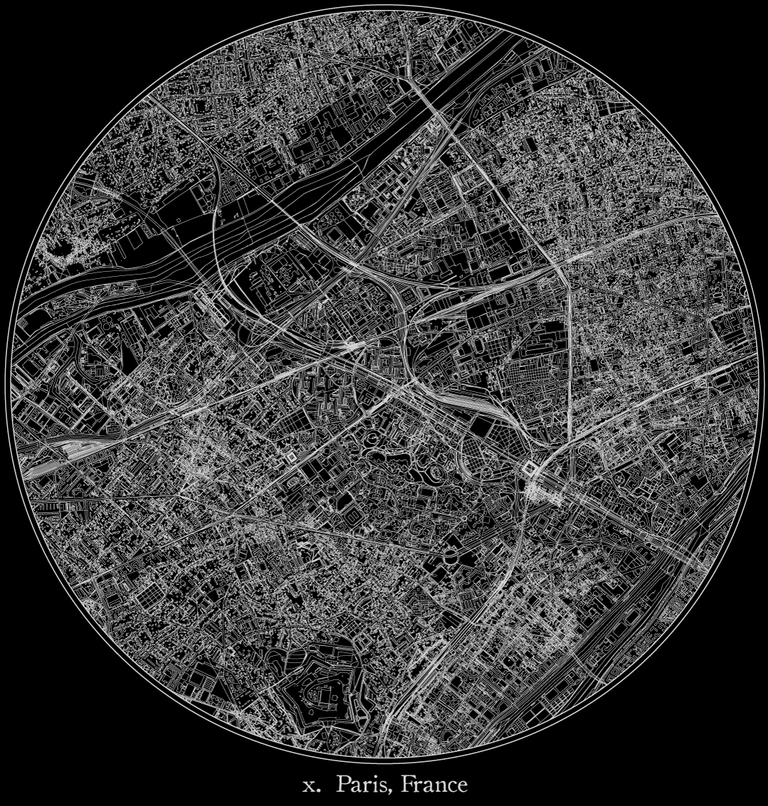 City map illustration of Paris created using Maperitive, OpenStreetMap and Adobe Illustrator.