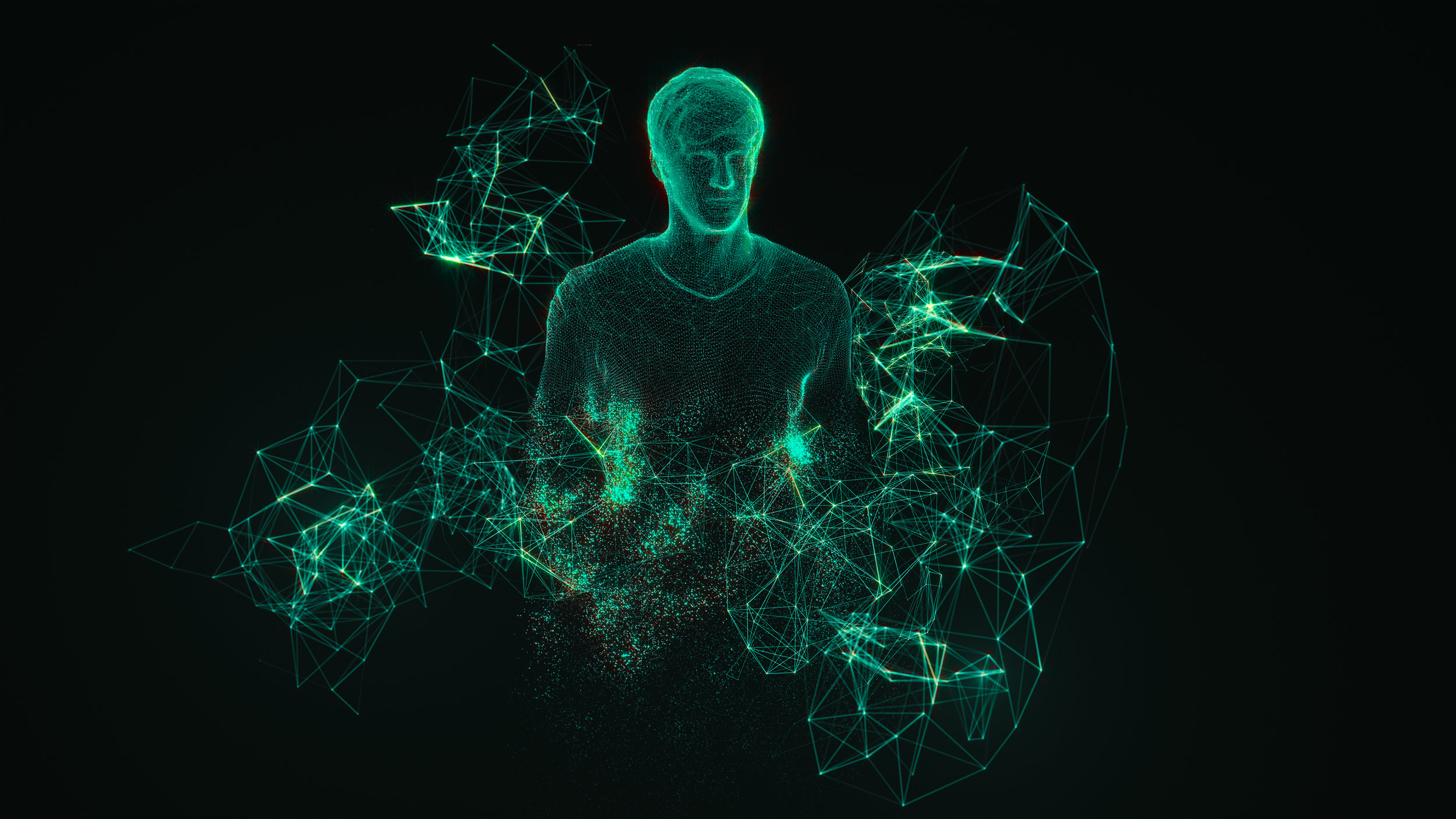 Selected keyvisual for the presentation, created in After Effect using Plexus, Trapcode Form, Trapcode Particular and two variations of the same 3D model (one triangulated and one based on quads).