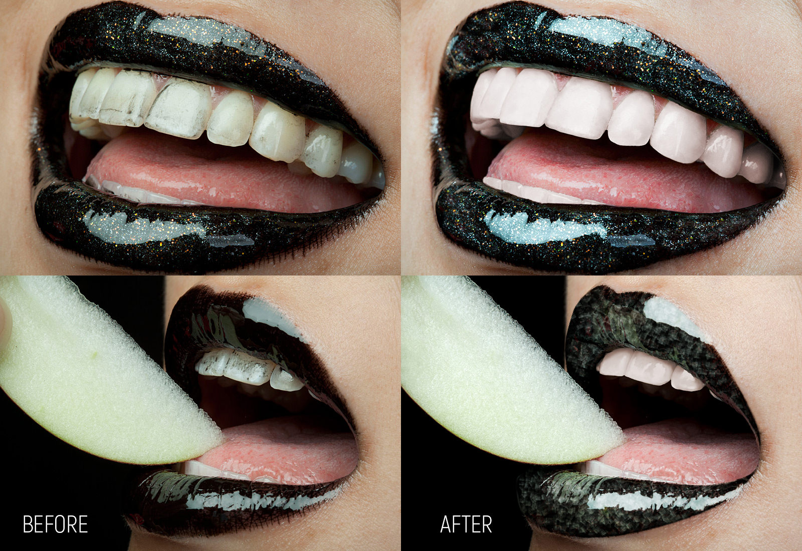 Brightness, contrast, color correction. Straightened lower teeth, repaired large tooth on the upper right part and the chipped one next to it. Adjusted the apple's shape. Removed black lipstick stains from the tongue and teeth using composited textures. Color and brightness corrected teeth. Removed skin blemishes around the mouth, contour lips and made them look more glossy.