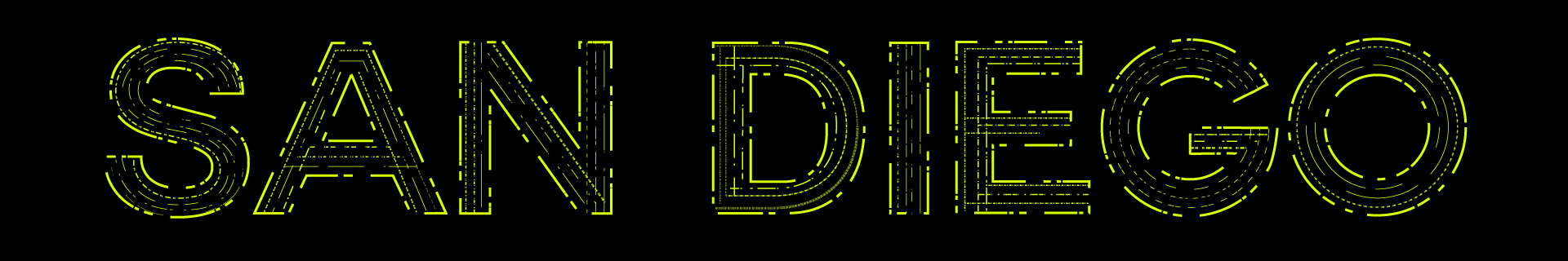 Futuristic lettering design for the city of San Diego, developed in Adobe Illustrator.