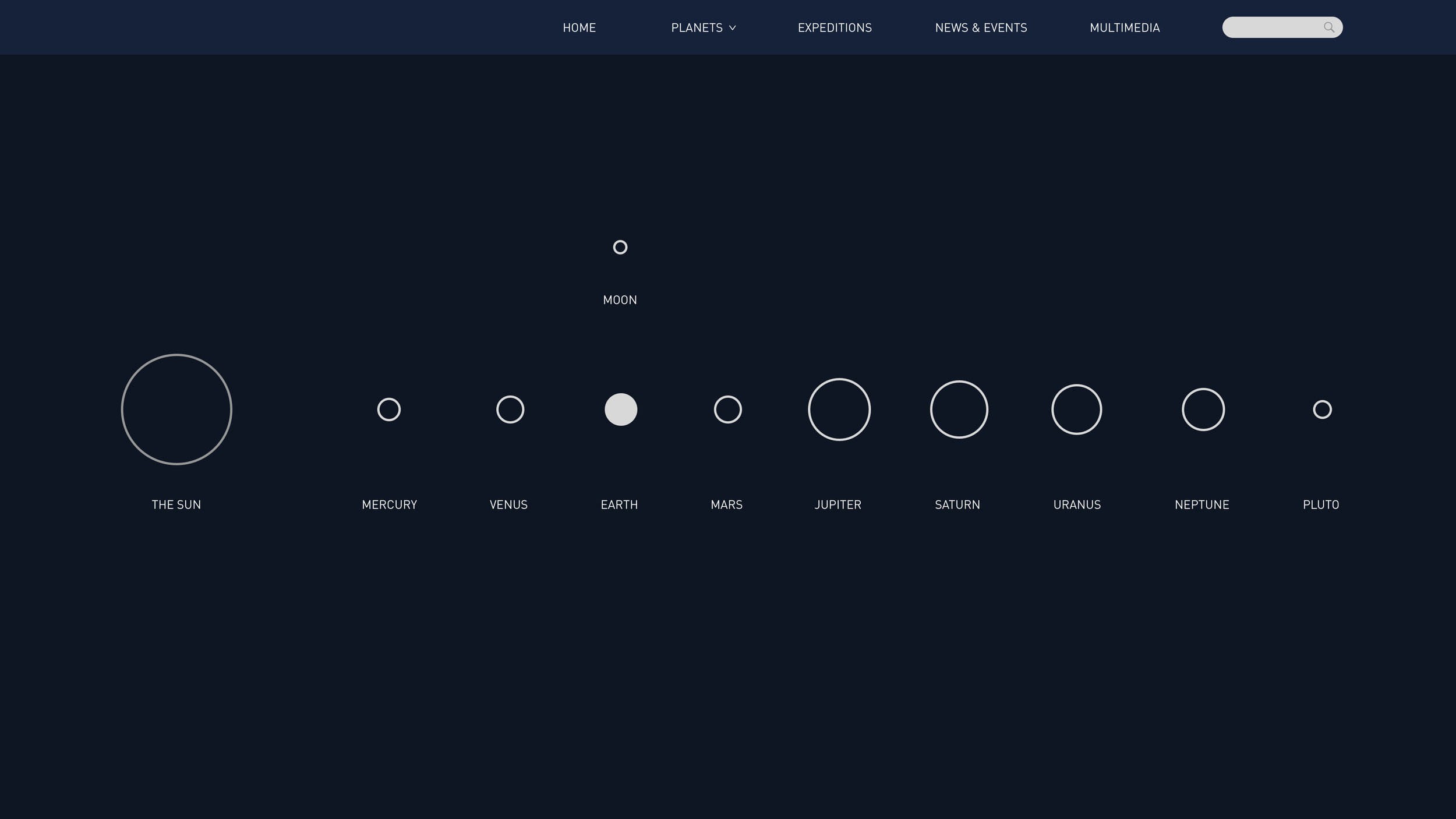 Minimalist homepage design; the user is able to select the planet that he's interested in or use the navigation menu above.