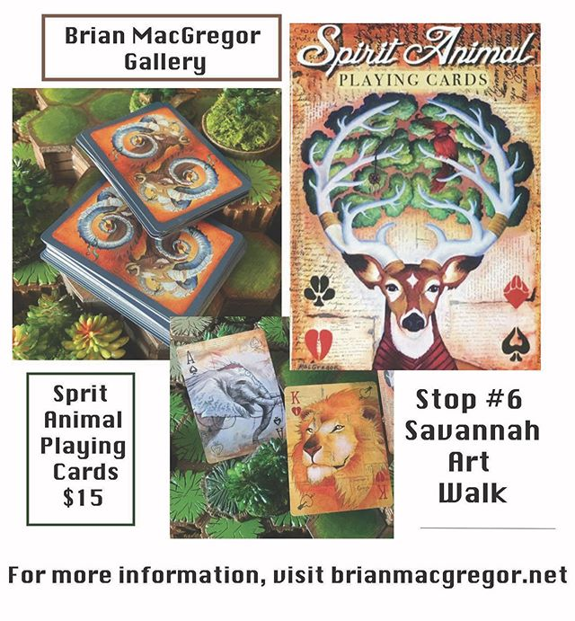 Brian MacGregor Gallery is located in Savannah's city market in studio #103! 🌿His gallery is stop #6 on our Savannah Art Walk maps. MacGregor has recently created beautiful Spirit Animal Playing Cards! ♠️♥️♣️♦️These cards feature the work of MacGregor and are available for pre-sale now through October 31st! 🍂Visit his website, brianmacgregor.net to learn more about the artist! 🍃Posted below is the link to purchase the playing cards! 💚 • https://brianmacgregor.net/product/spirit-animal-playing-cards/?fbclid=IwAR3FSOWVZSiq1zAu0f2UUYSr6XBQRwc4Ptpz2CGUSFEakPvM_ITI6GcJjhY