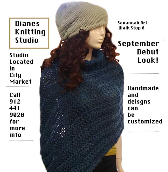 Diane's knitting studio is stop number 6 on the map. She is located at City Market in studio #108! ✨Each month Diane will debut a NEW design! Here is her September design! Perfect for the upcoming fall weather. 🍂Everything is handmade by Diane. She also does custom work! 🧣Visit her gallery or call her gallery at (912) 441-9020❤️ #Fall #SweaterWeather #CustomDesign #Handmade #Goods #ArtWalk #CityMarket