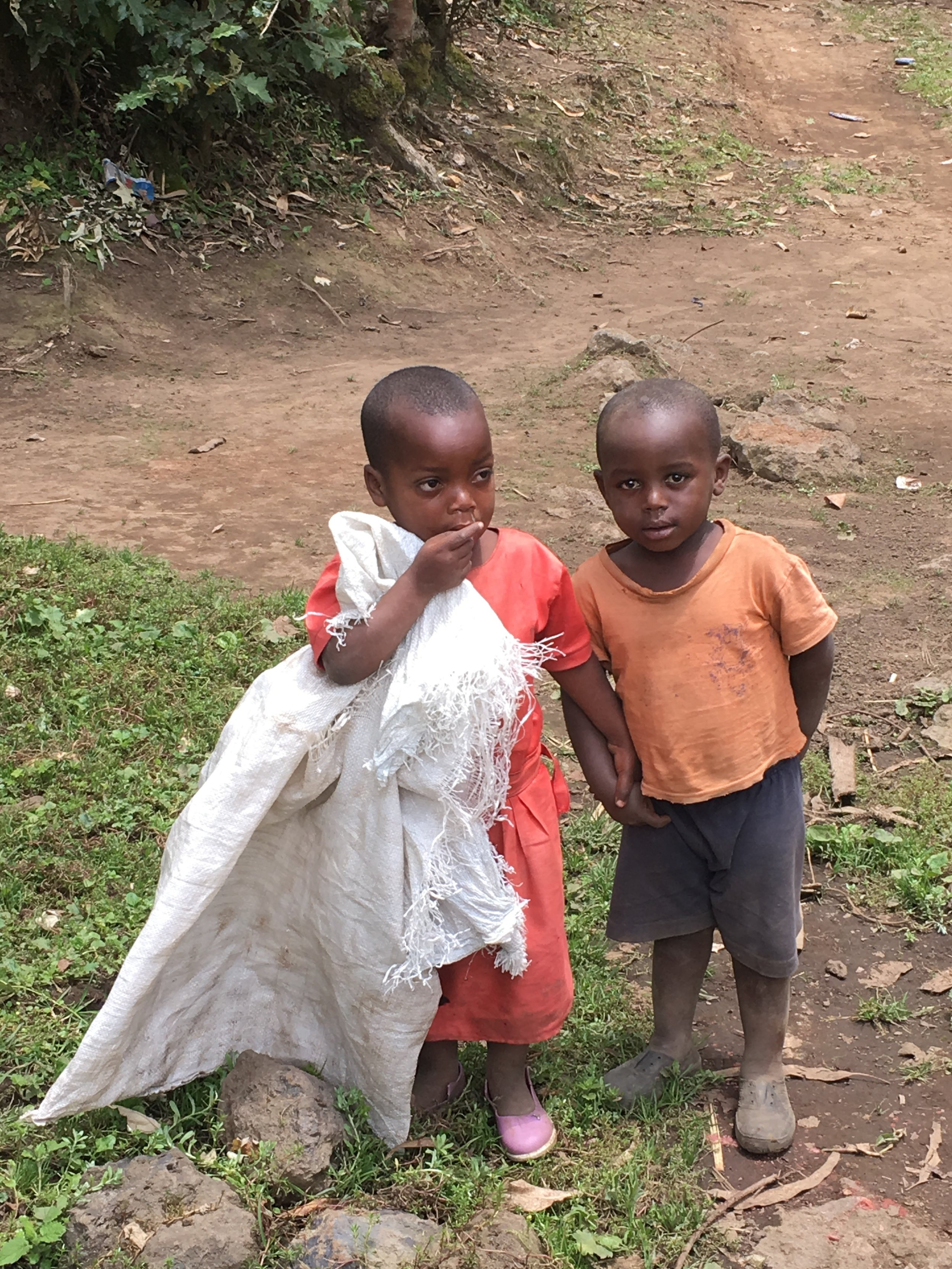 Two adorable children in Rwanda greet those who are doing a gorilla trek.