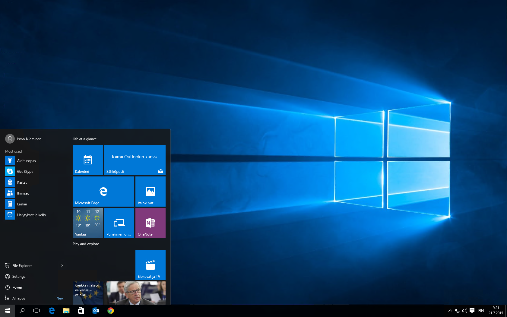 Windows 10 Työpöytä ja Käynnistä-valikko