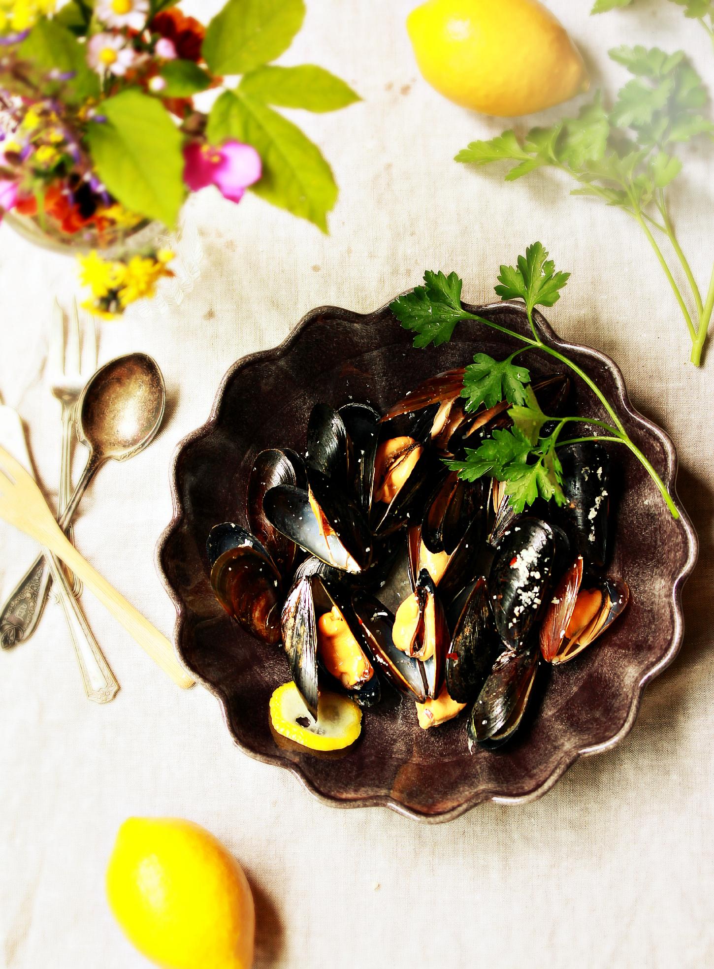 Steamed Mussels Dinner Scene by Dena T Bray