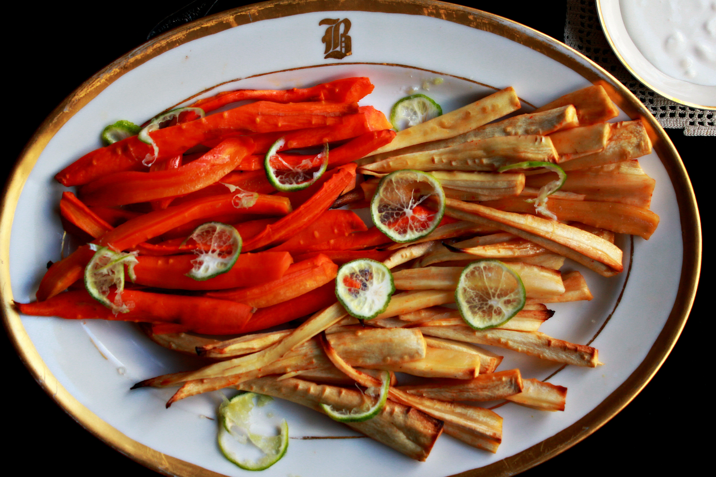 �Maple Sriracha Carrots and Parsnips by Dena T Bray