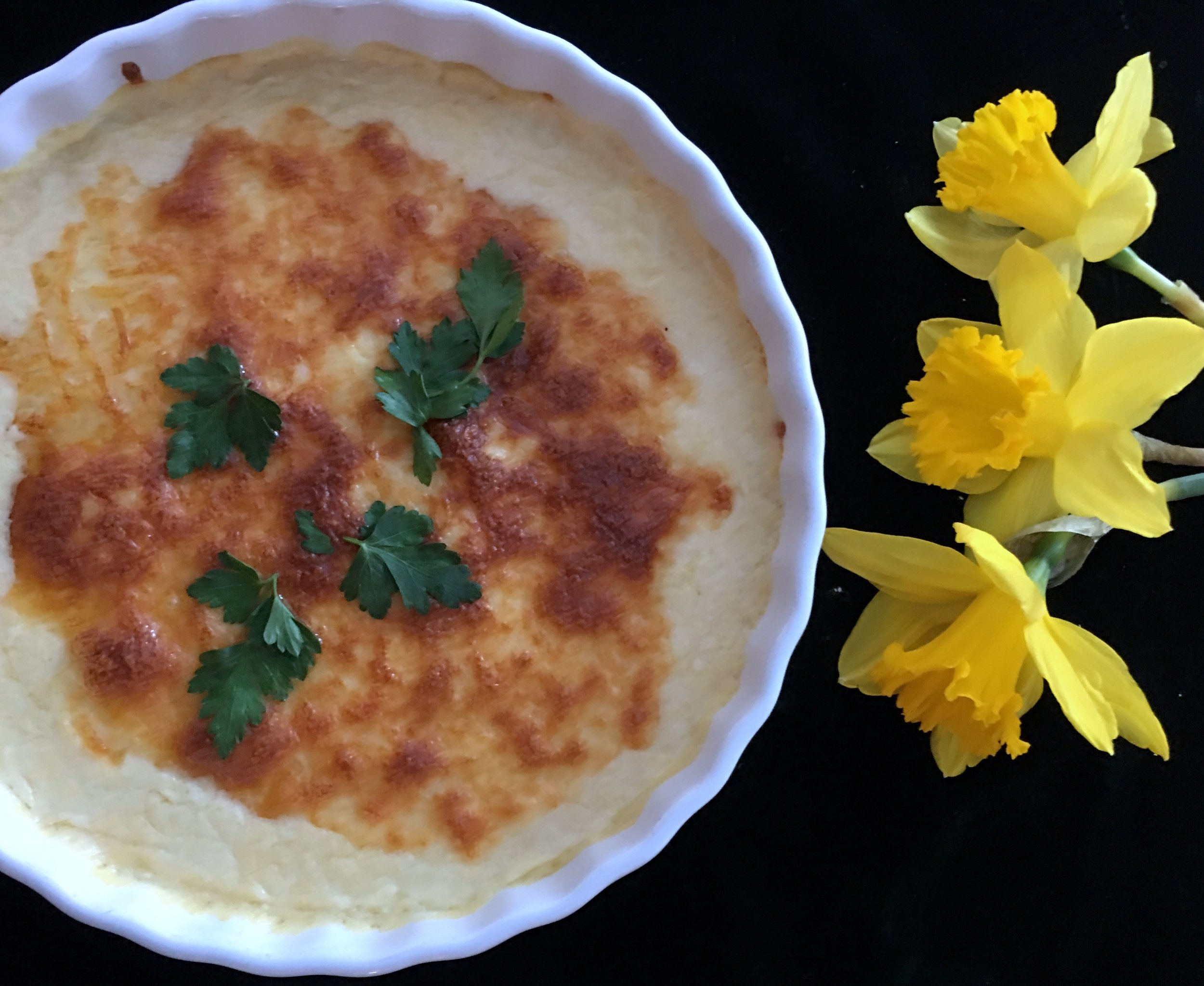 ©Polenta with Three Daffodils by Dena T Bray