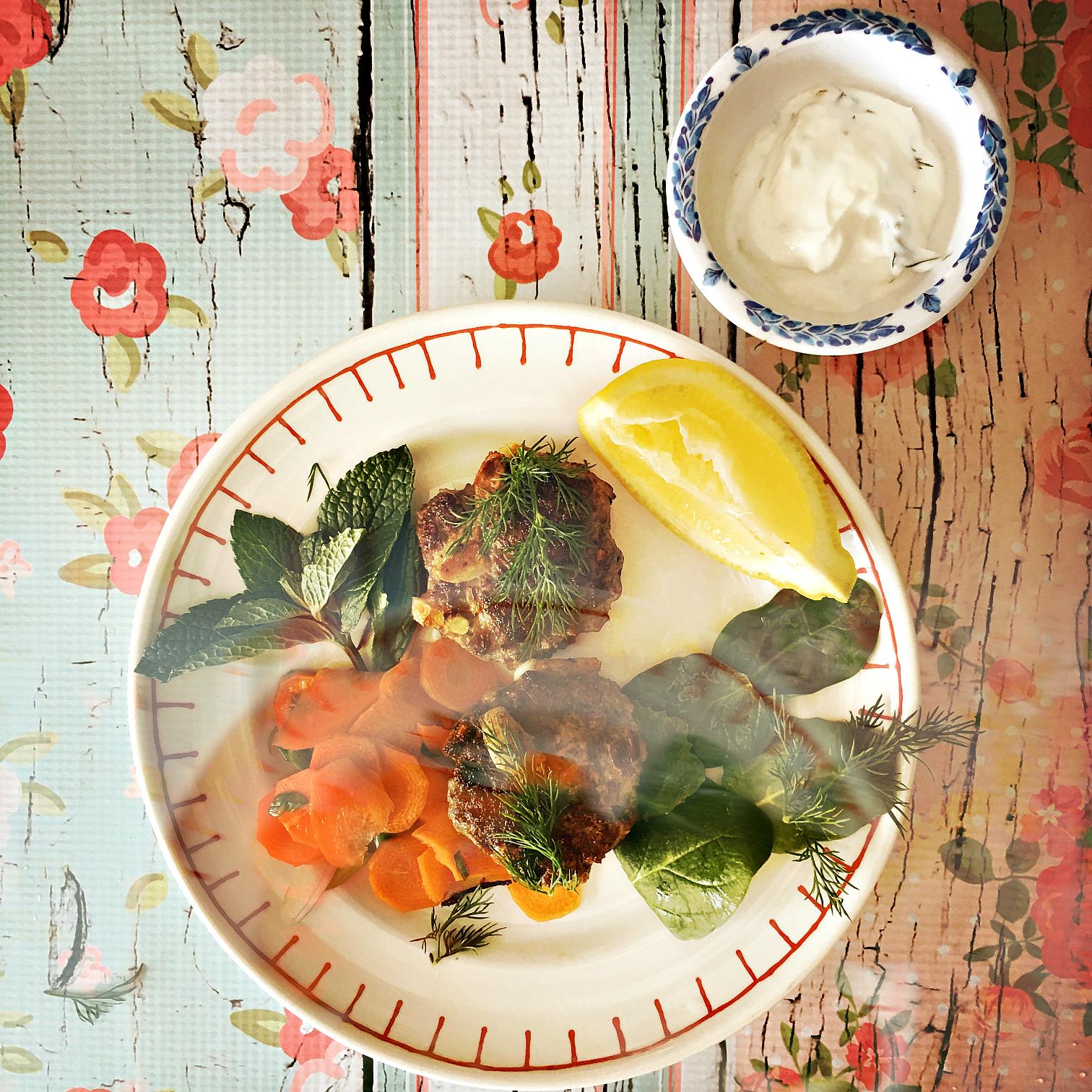 ©Lamb Patties with Yogurt Sauce & Herbs