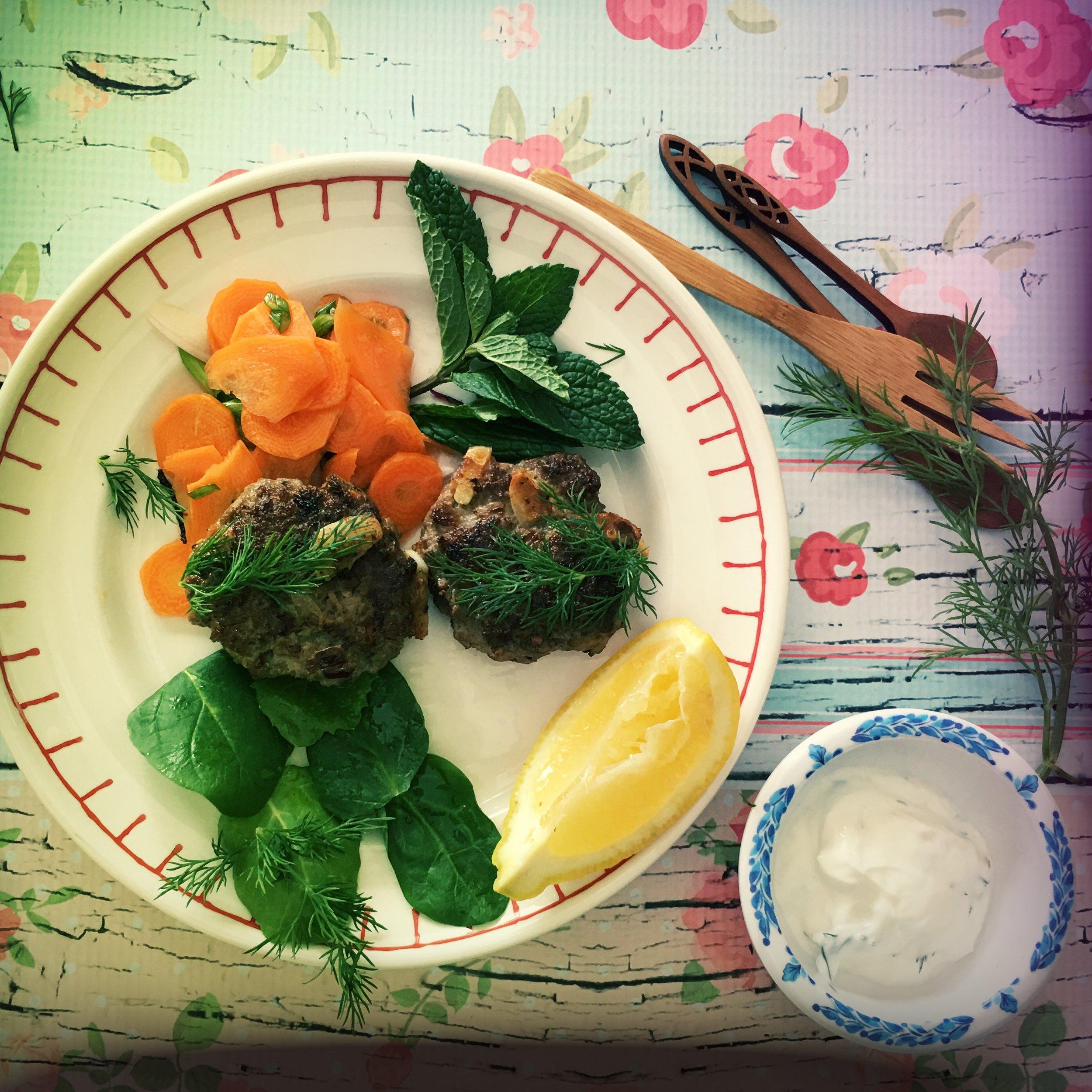 ©Lamb Patties and Salads by Dena Bray
