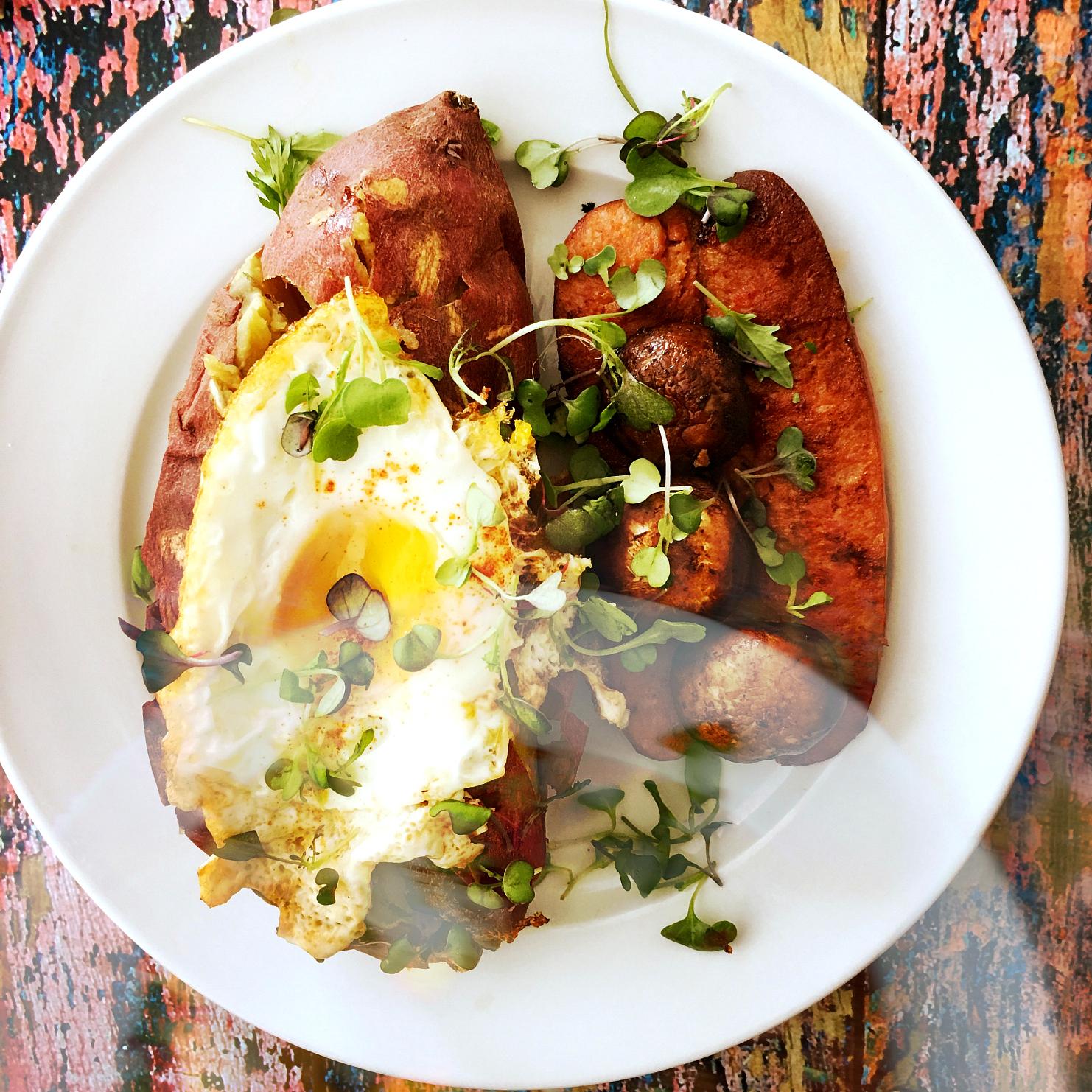 © Roasted Yam with Eggs and Chorizo