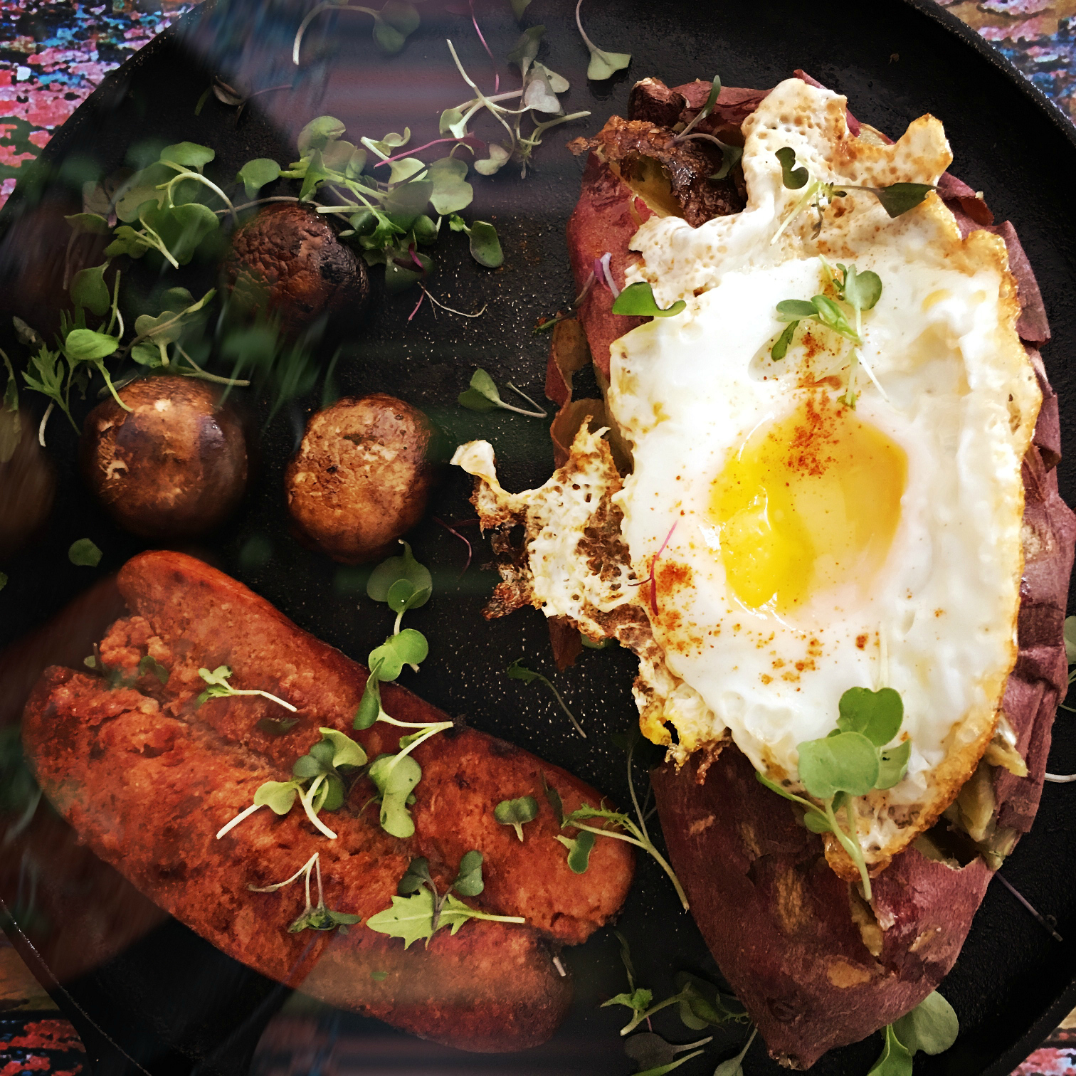 ©Yam and Chorizo in Pan by Dena T Bray