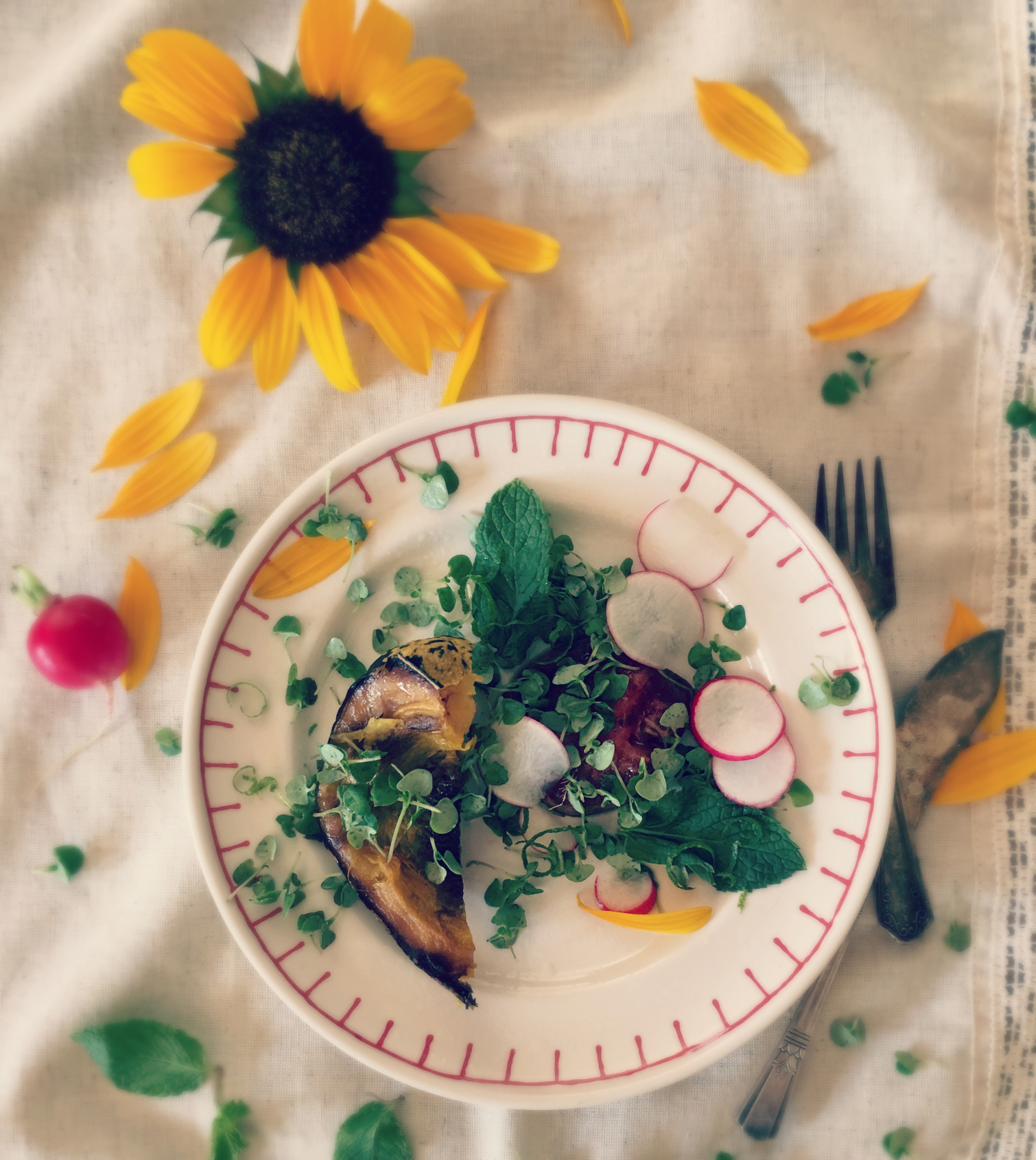 © Softened Salad Scene with Sunflower by Dena T Bray.jpg
