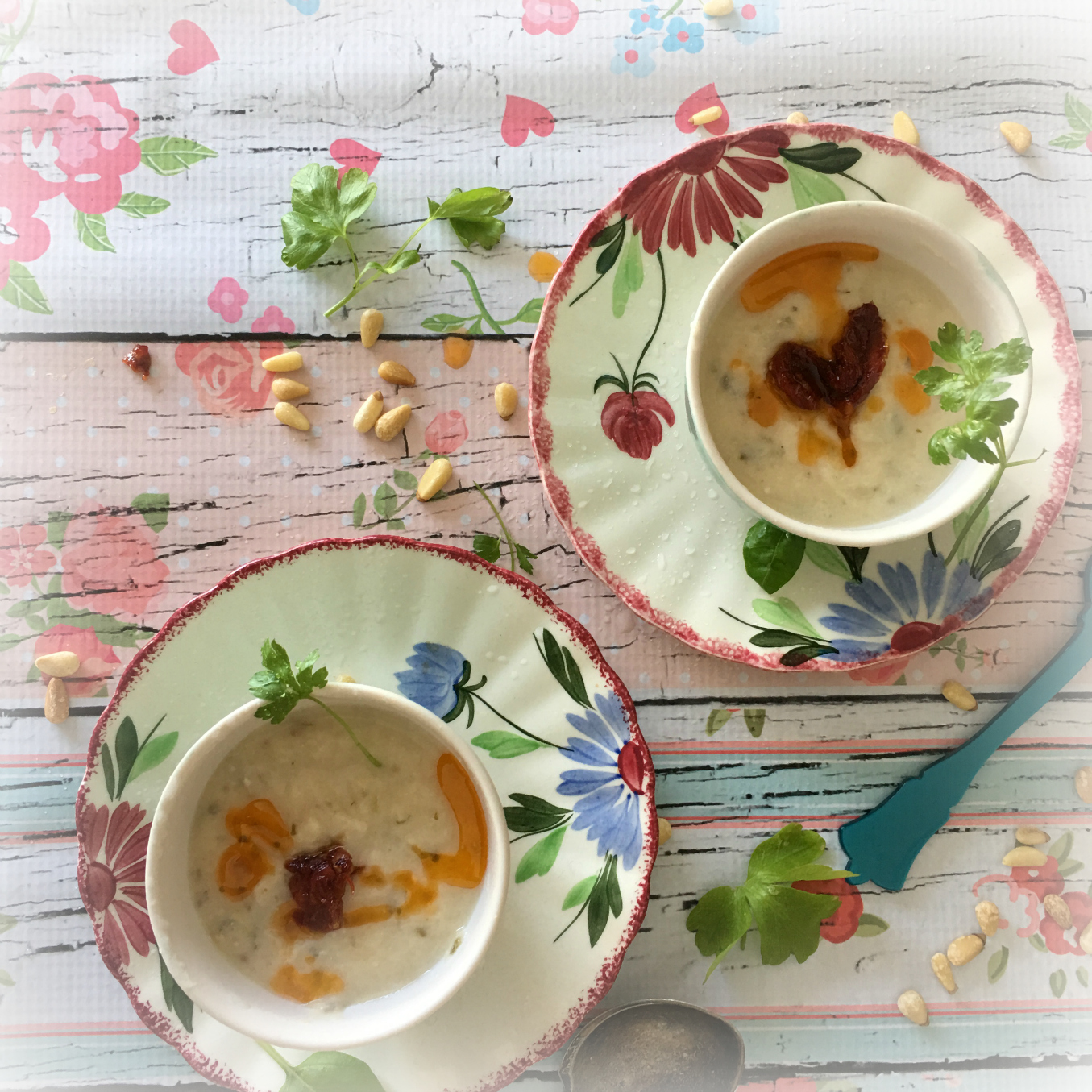 ©Cauliflower Soup with Herbs, Two Bowls, by Dena T Bray.jpg