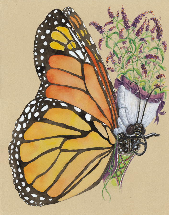 """""""Double Monarch"""", 2017, watercolor and gouache on tinted paper, 11"""" x 14"""""""