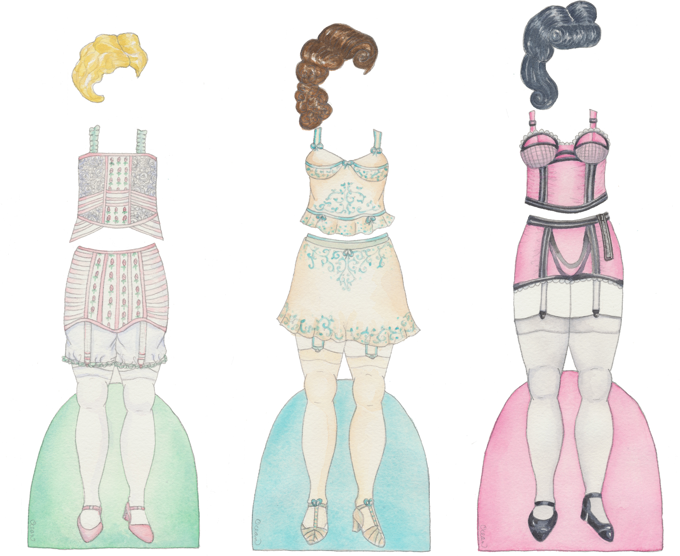 Custom bridal shower invitation printed as a set of paper dolls for each guest
