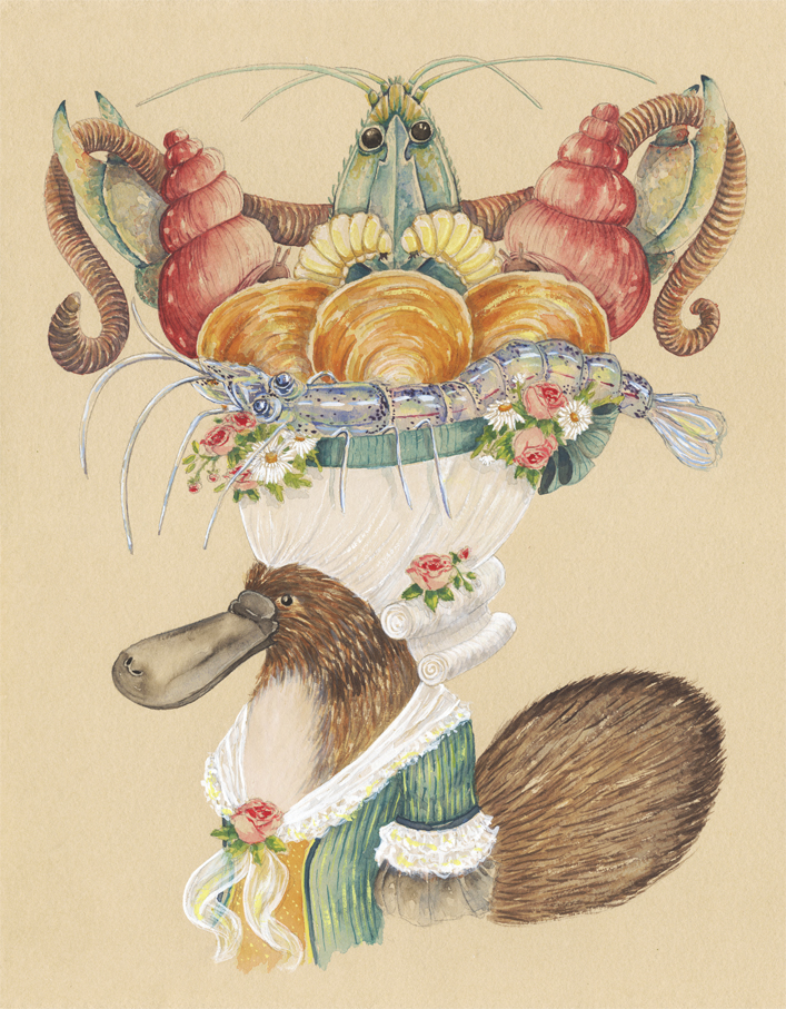 """""""Platypus Duchess with a Hat of Mollusks, Crayfish, Larvae, and a Worm"""", 2018, watercolor and gouache on tinted watercolor paper, 11"""" x 14"""""""