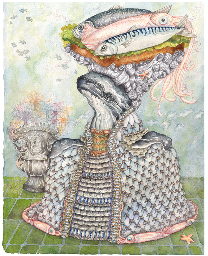 """""""The Humpback Whale with a Hat of Herring, Mackerel, and Squid"""", 2019, watercolor on paper, 11"""" x 14"""""""
