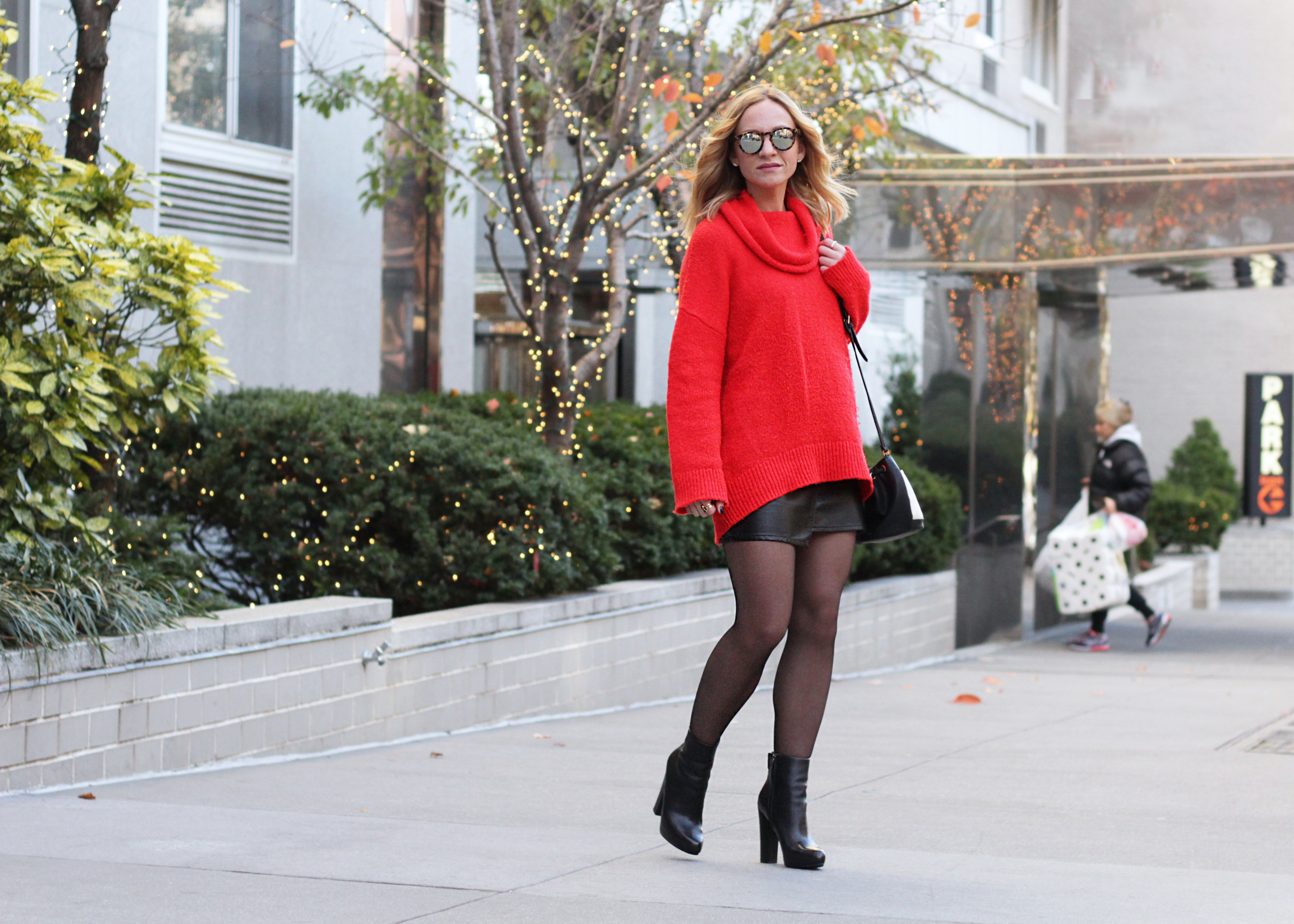 big red sweater skirt and tights outfit