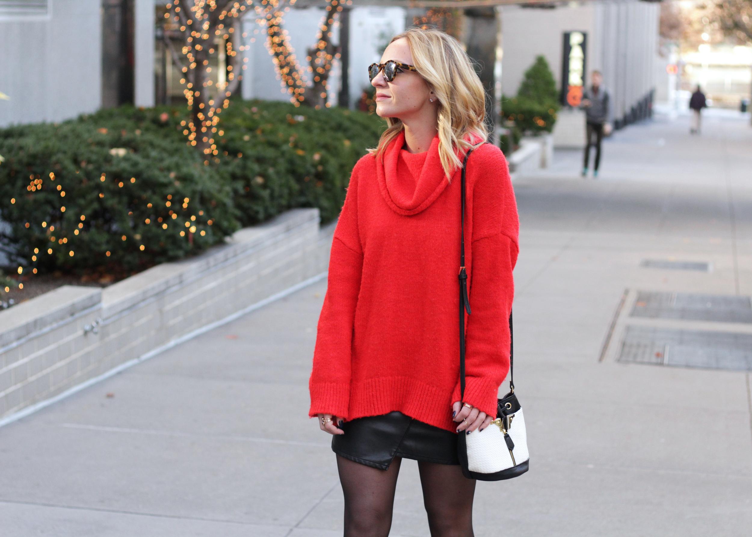 big red sweater bucket bag