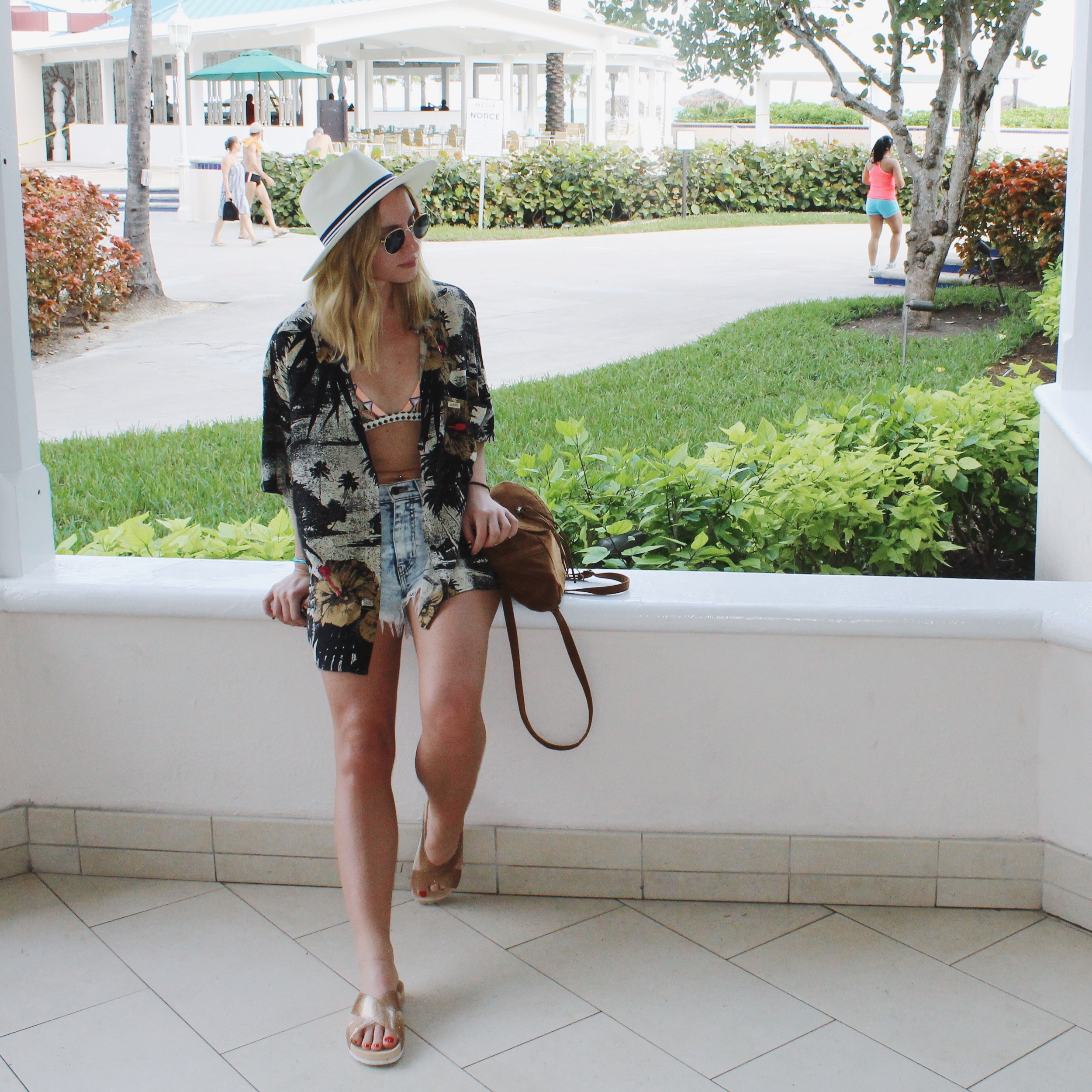 Dressed In: Hawaiian Shirt: 90's Vintage Guess by Marciano from  Thriftwares in Brooklyn (similar  here , here , & here ) | Cut Offs: here & here | Sandals: Aldo (sold out - similar  here & here ) | Backpack: Forever 21 (sold out - similar  here & here ) |