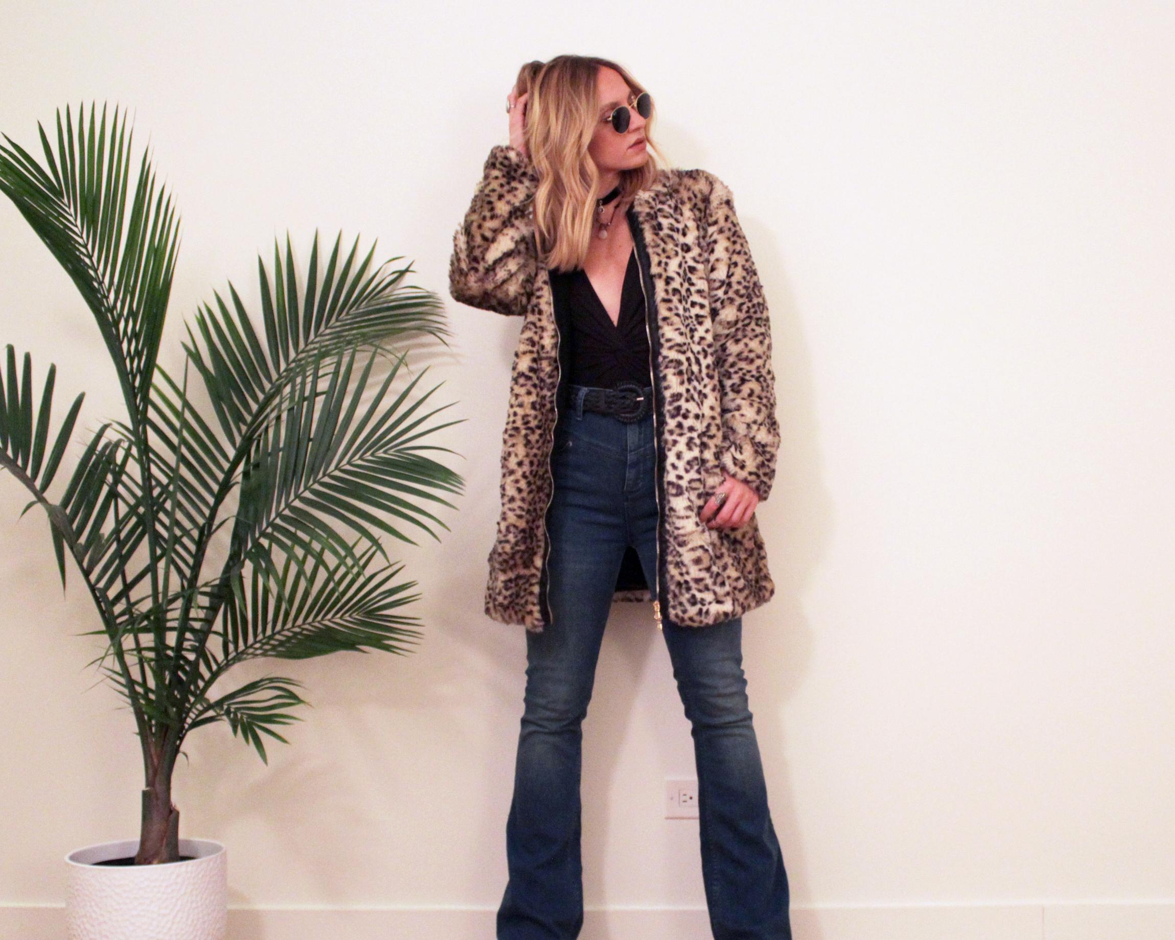 retro style leopard faux fur bell-bottoms