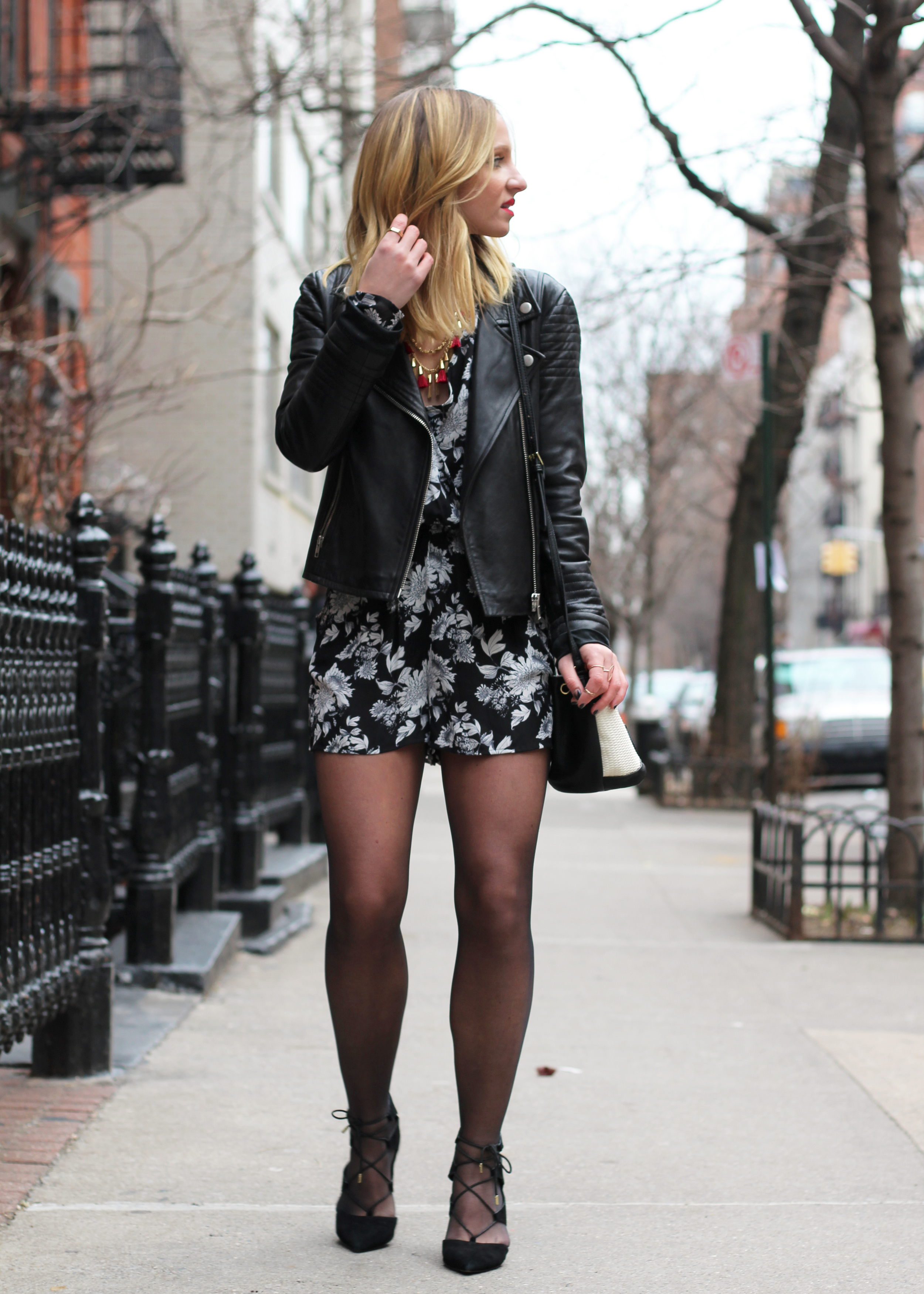 valentine's day outfit ideas black and white romper leather jacket