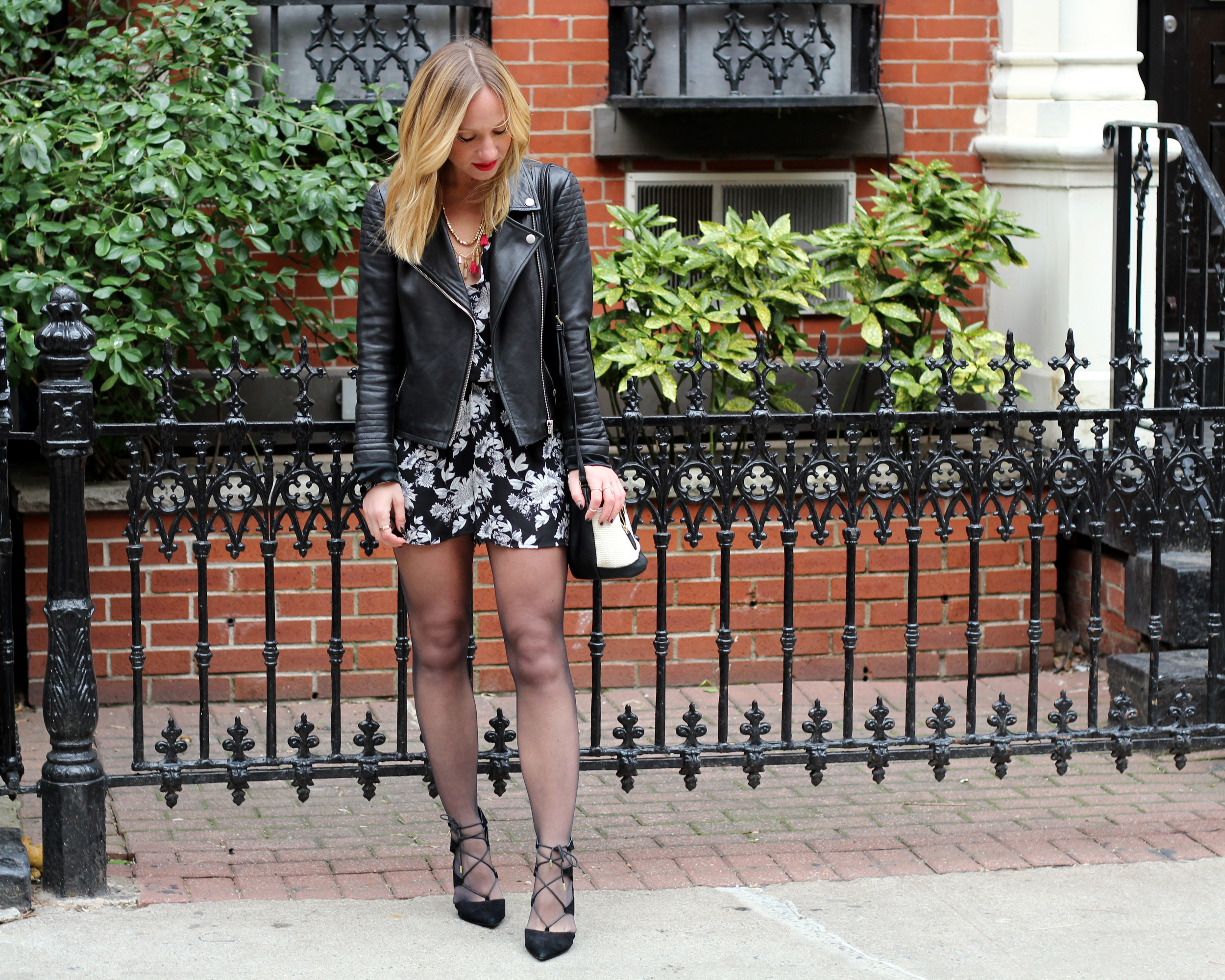 valentines day outfit ideas date night looks black tights with romper look Danielle Nicole Alexa Mini Bucket topshop lace-up shoe