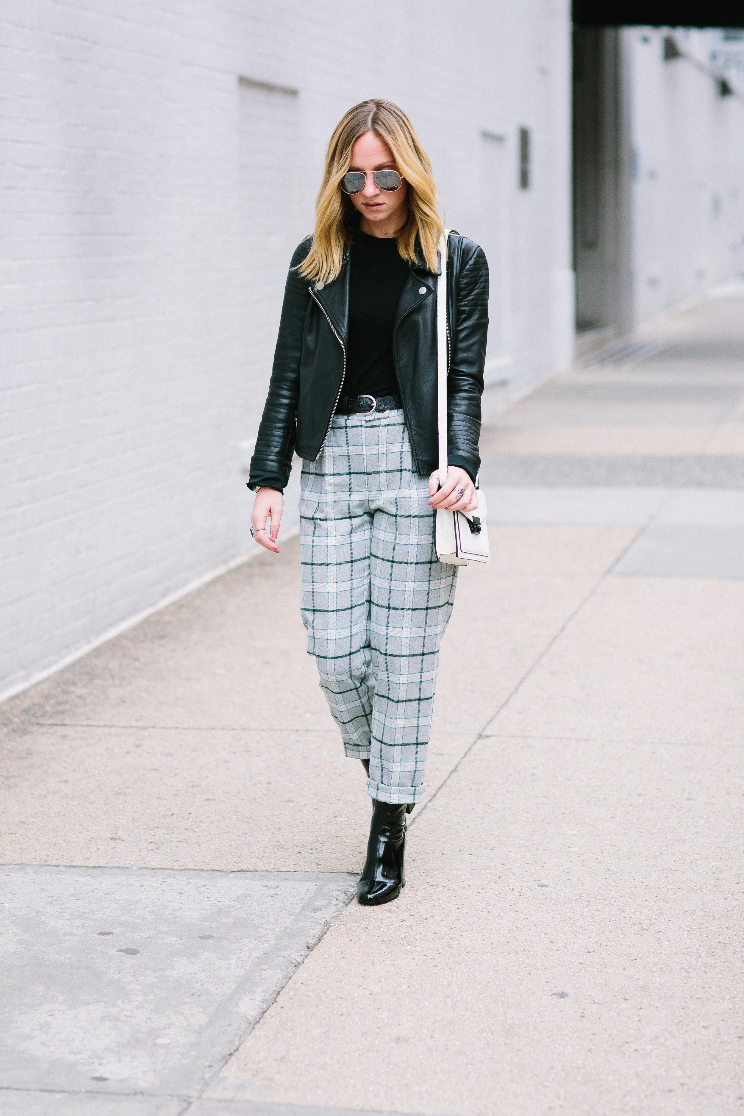 SFW outfit ideas with edge ASOS check boyfriend peg pant