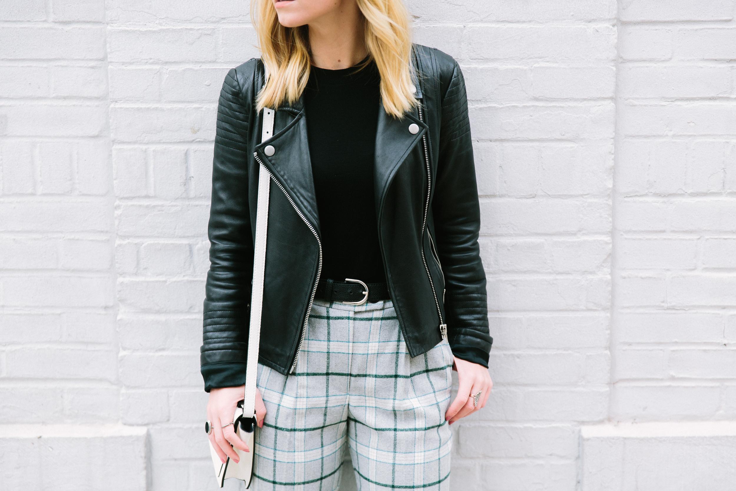 BB Dakota Leather jacket ASOS check boyfriend peg pants