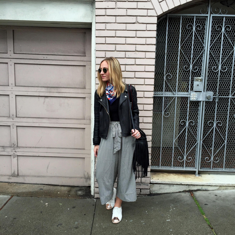 Leather Jacket:   BB Dakota   Culottes:  Zara ( similar )  Square Scarf:   Urban Outfitters    Sneakers:  Aldo (sold out -  similar )  Sunnies:   Ray-Ban   Bag:  H&M ( similar )