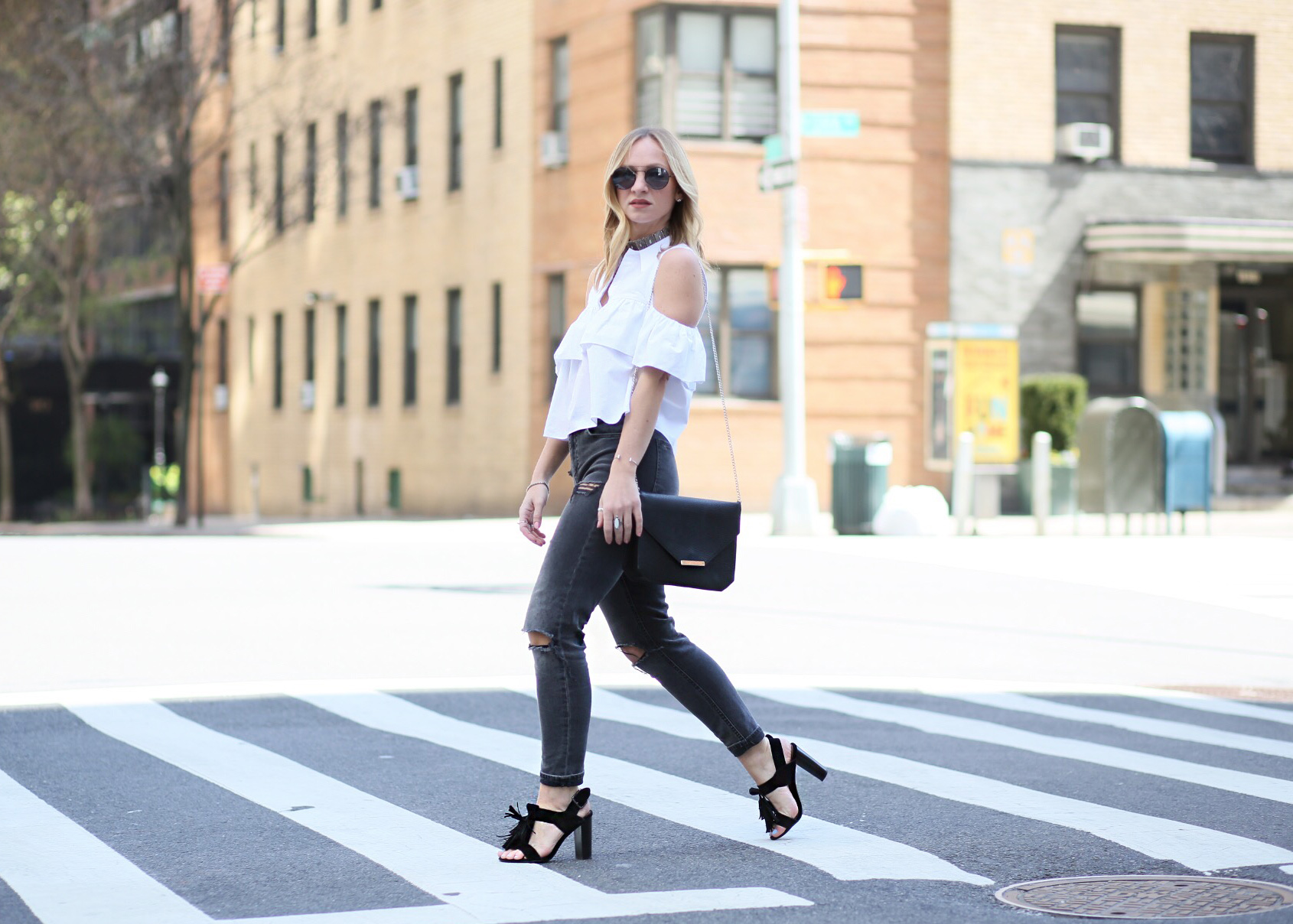 black heeled sandals with tassel