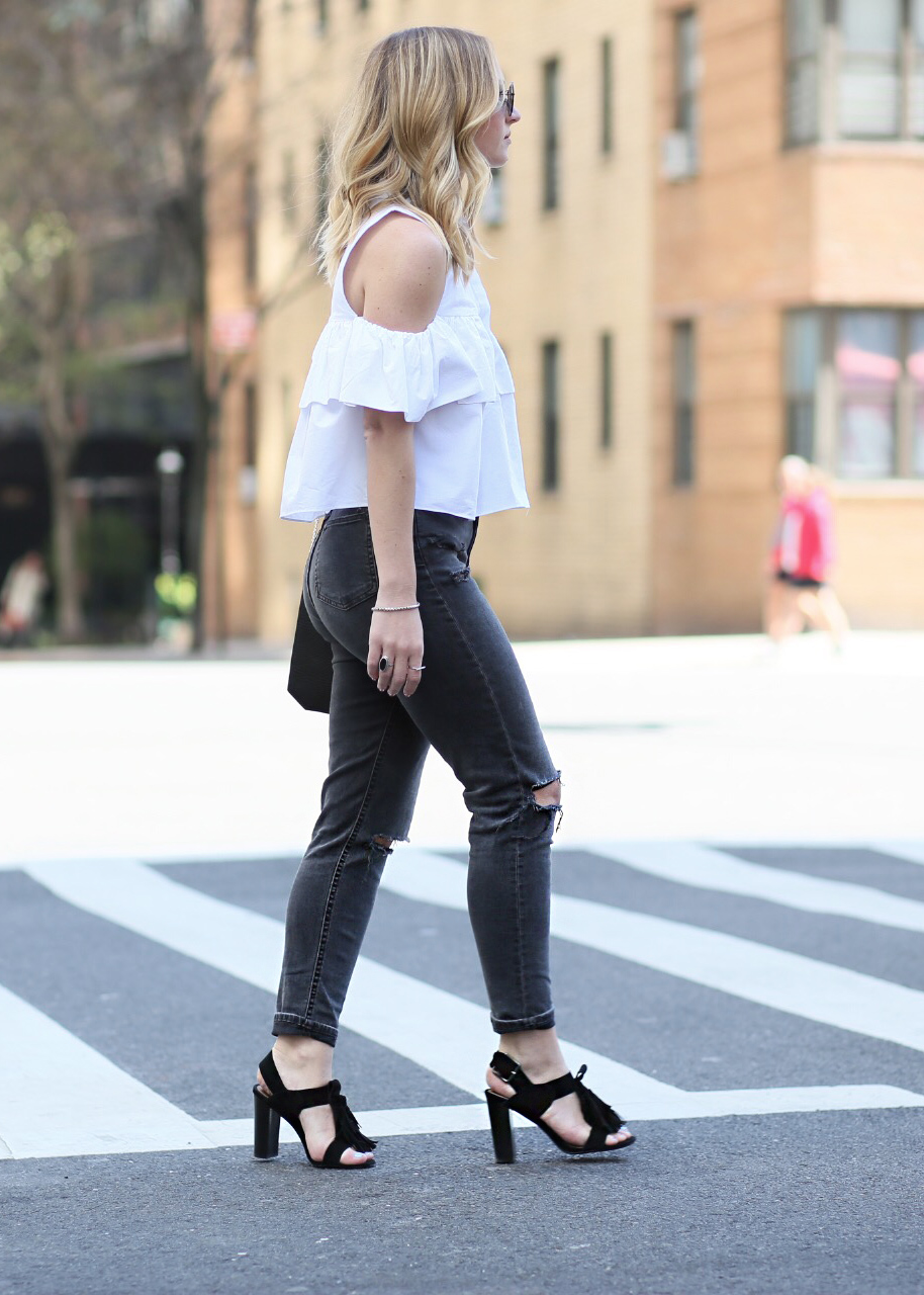 cutout shoulder top with frills