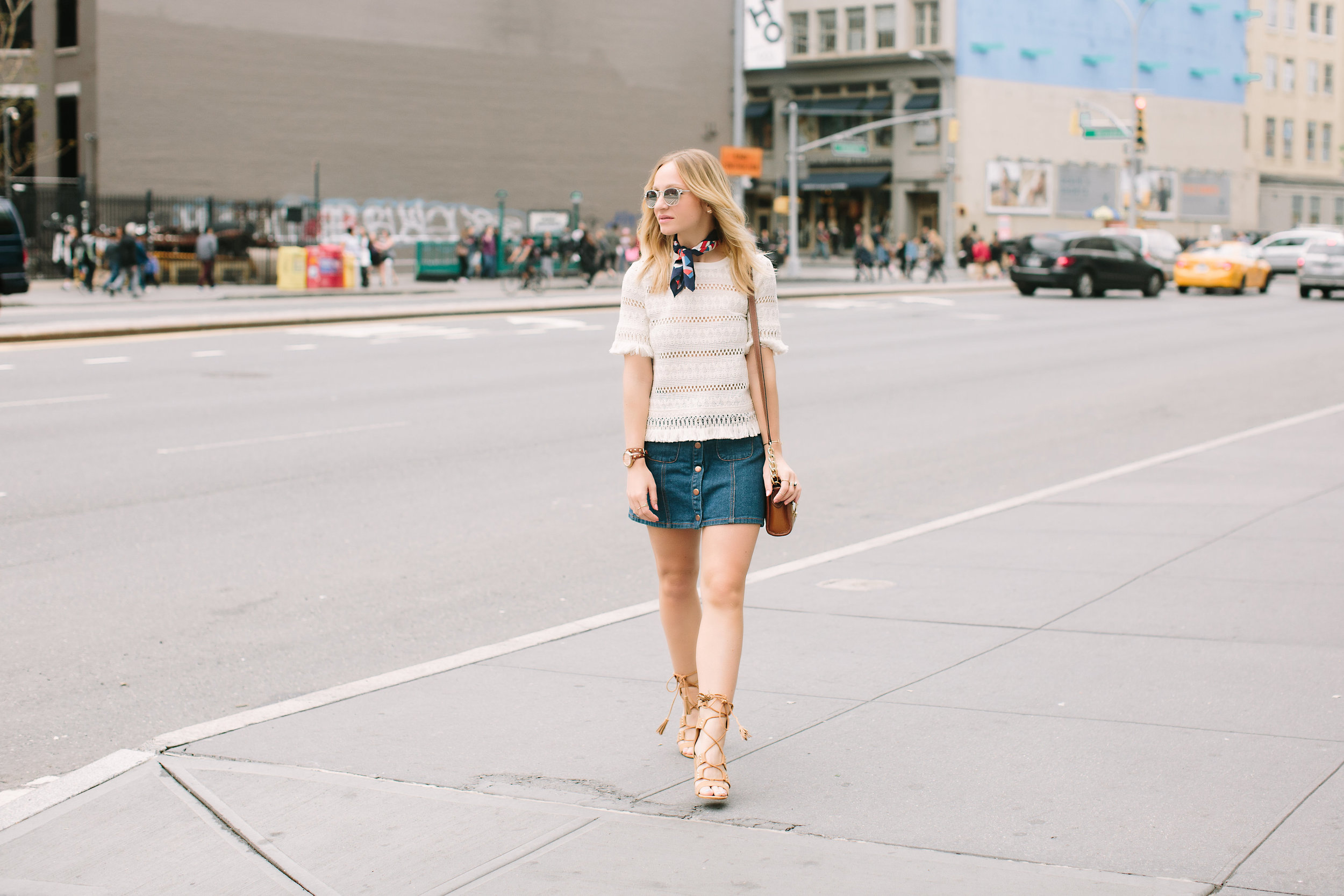 laceup heeled sandal denim button skirt spring style