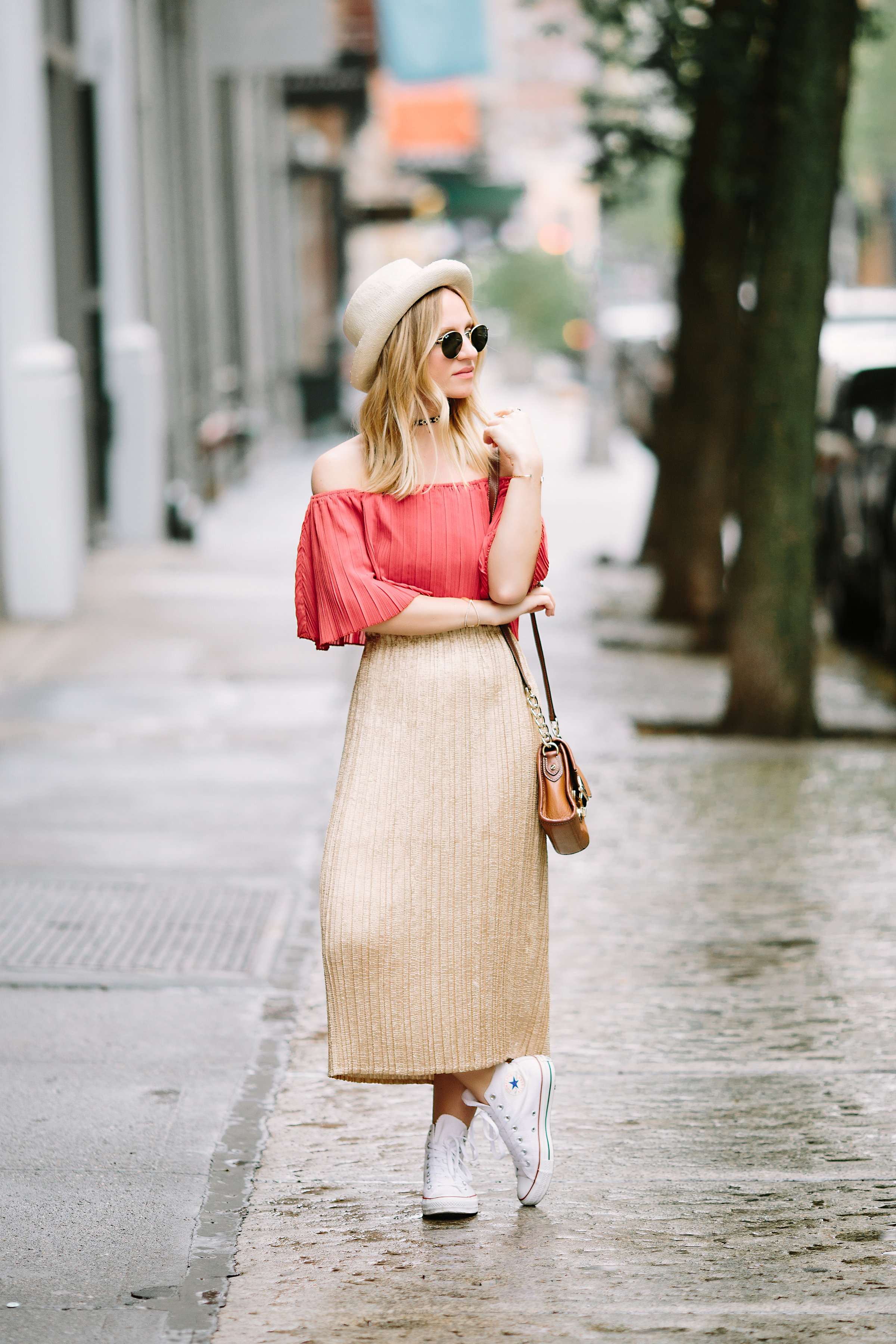 midi skirt with sneakers