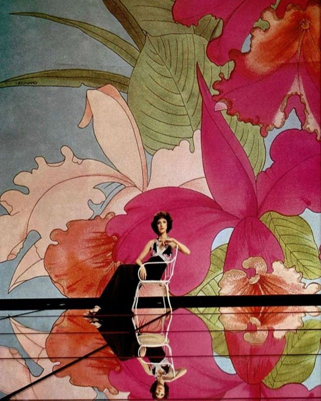 B🌷I🌷G  tropical florals for days Léonard Fashion modelled in L'Officiel magazine, 1975.