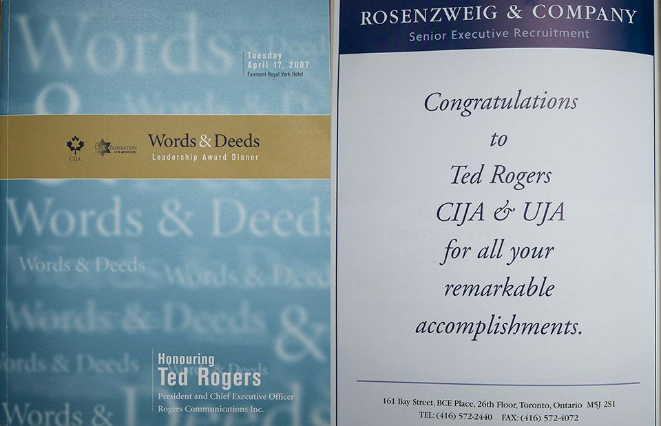 Leadership Award Diner honouring Ted Rogers