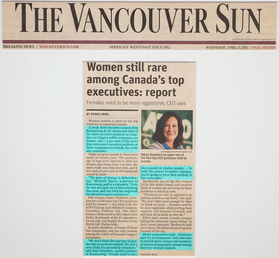 Women still rare among Canada's top executives: report