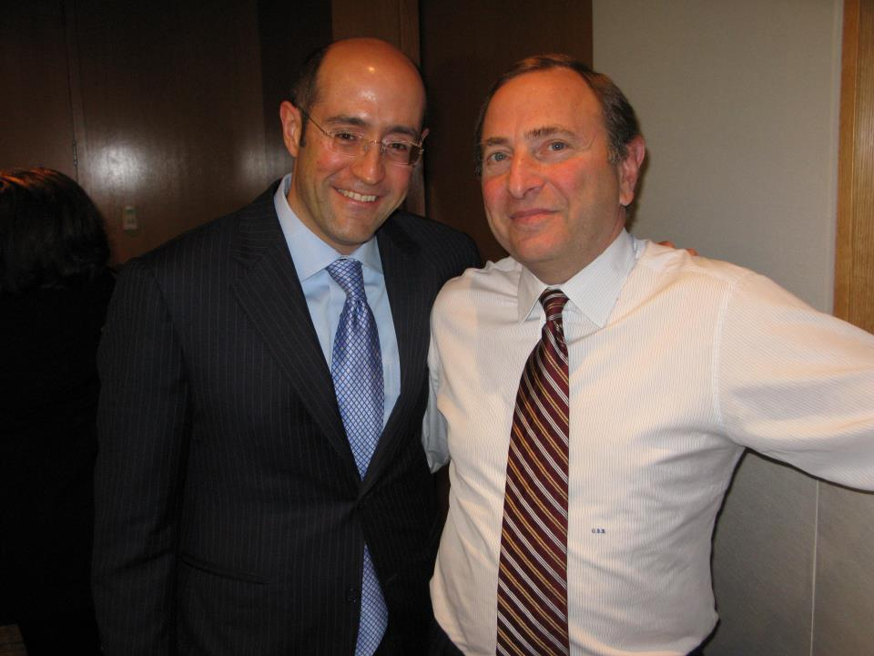 Jay Rosenzweig with Commissioner Gary Bettman at NHL Offices in NYC