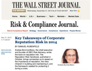 """Andrea Bonime-Blanc Interviewed on """"Key Takeaways of Corporate Reputation Risk in 2014"""" by WJS: Samuel Rubenfeld"""