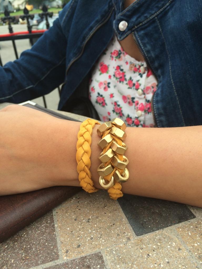 Hex-nuts mustard bracelet