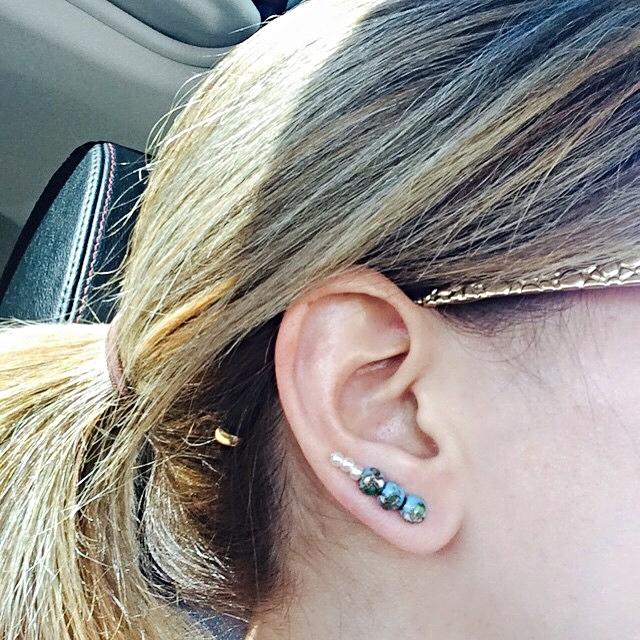 Pearls n Turquoise ear crawler